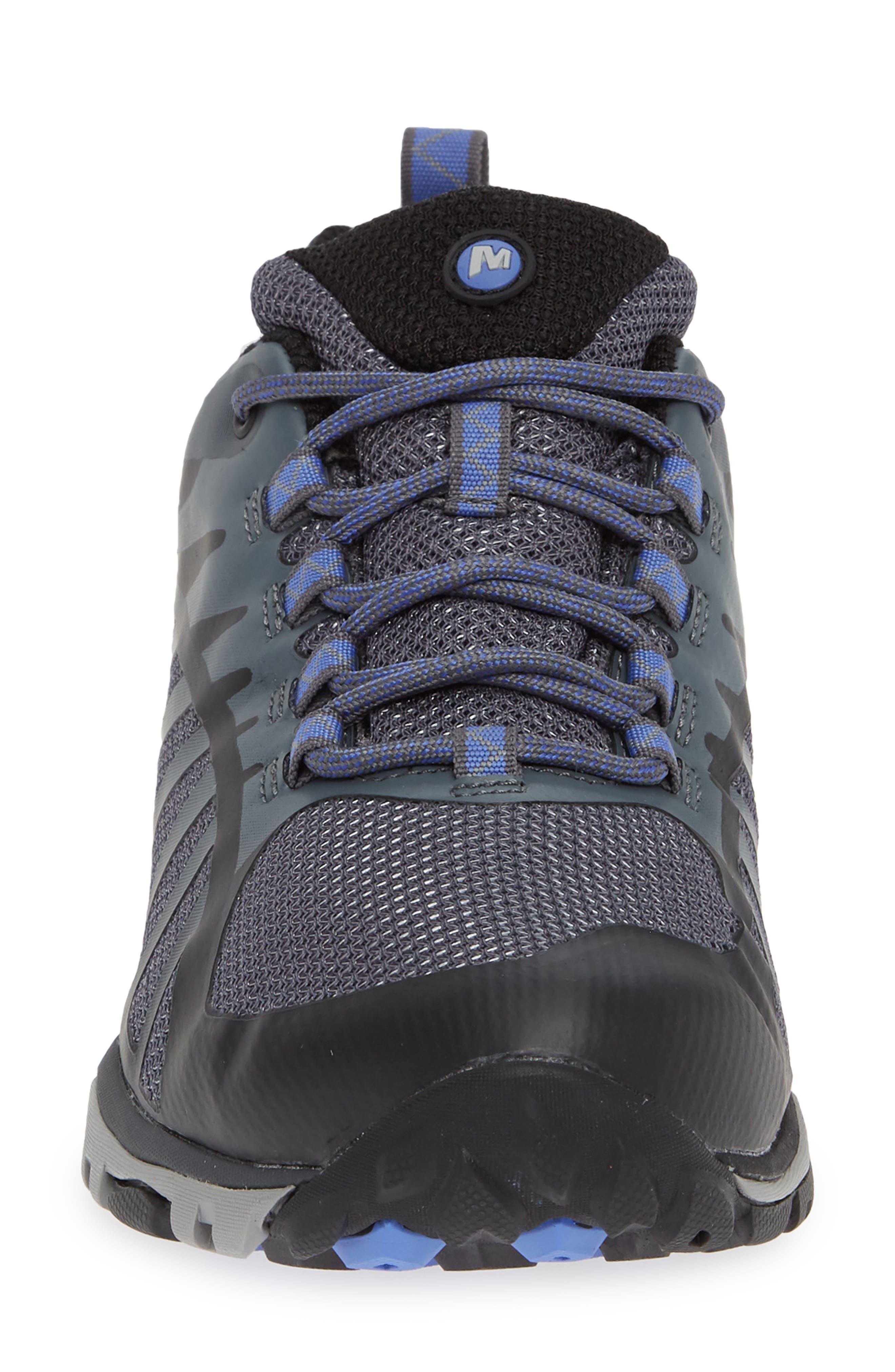 MERRELL, Siren Edge Waterproof Q2 Hiking Shoe, Alternate thumbnail 4, color, BLACK FABRIC