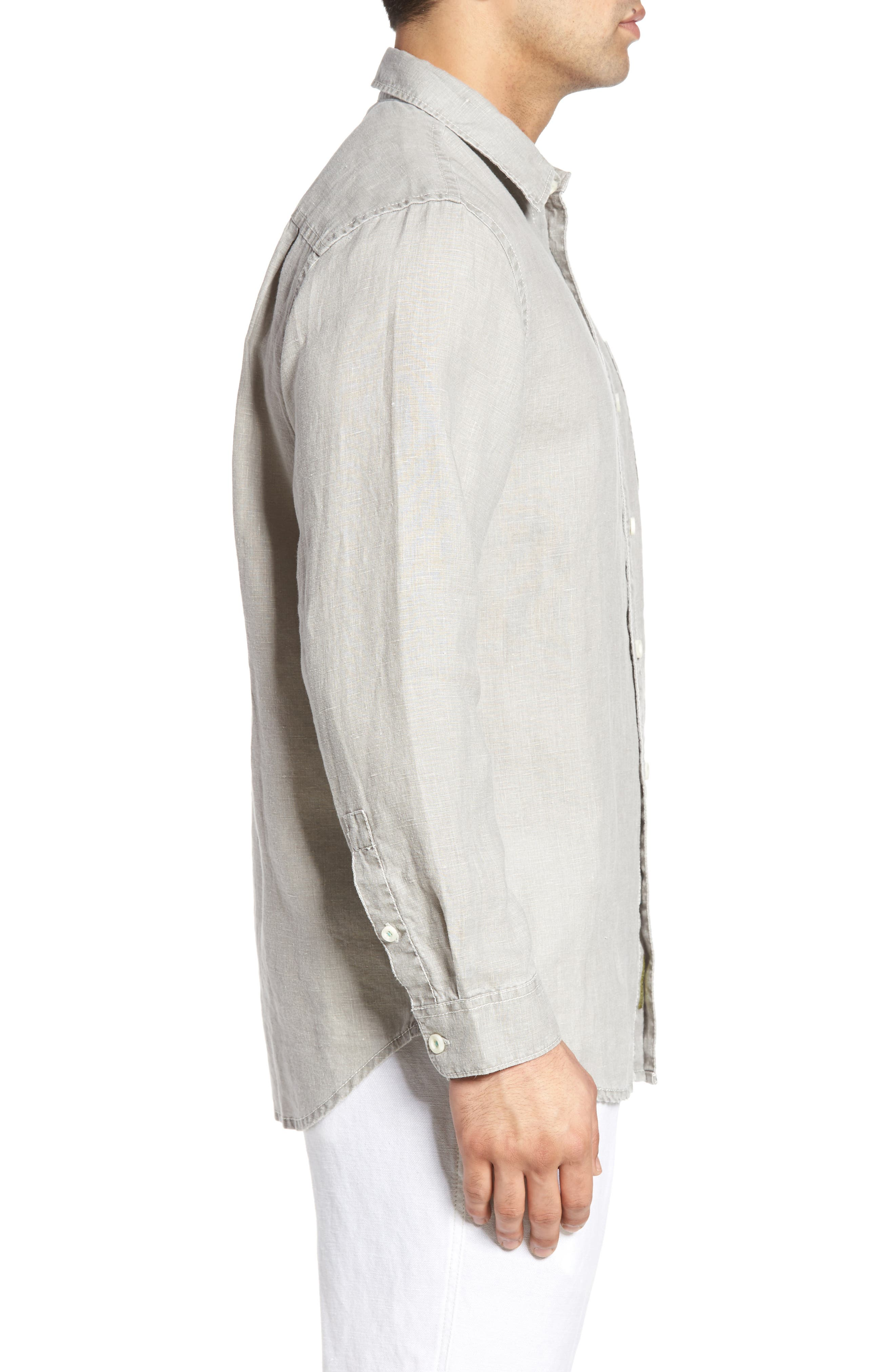TOMMY BAHAMA, 'Sea Glass Breezer' Original Fit Linen Shirt, Alternate thumbnail 3, color, LIGHT GREY