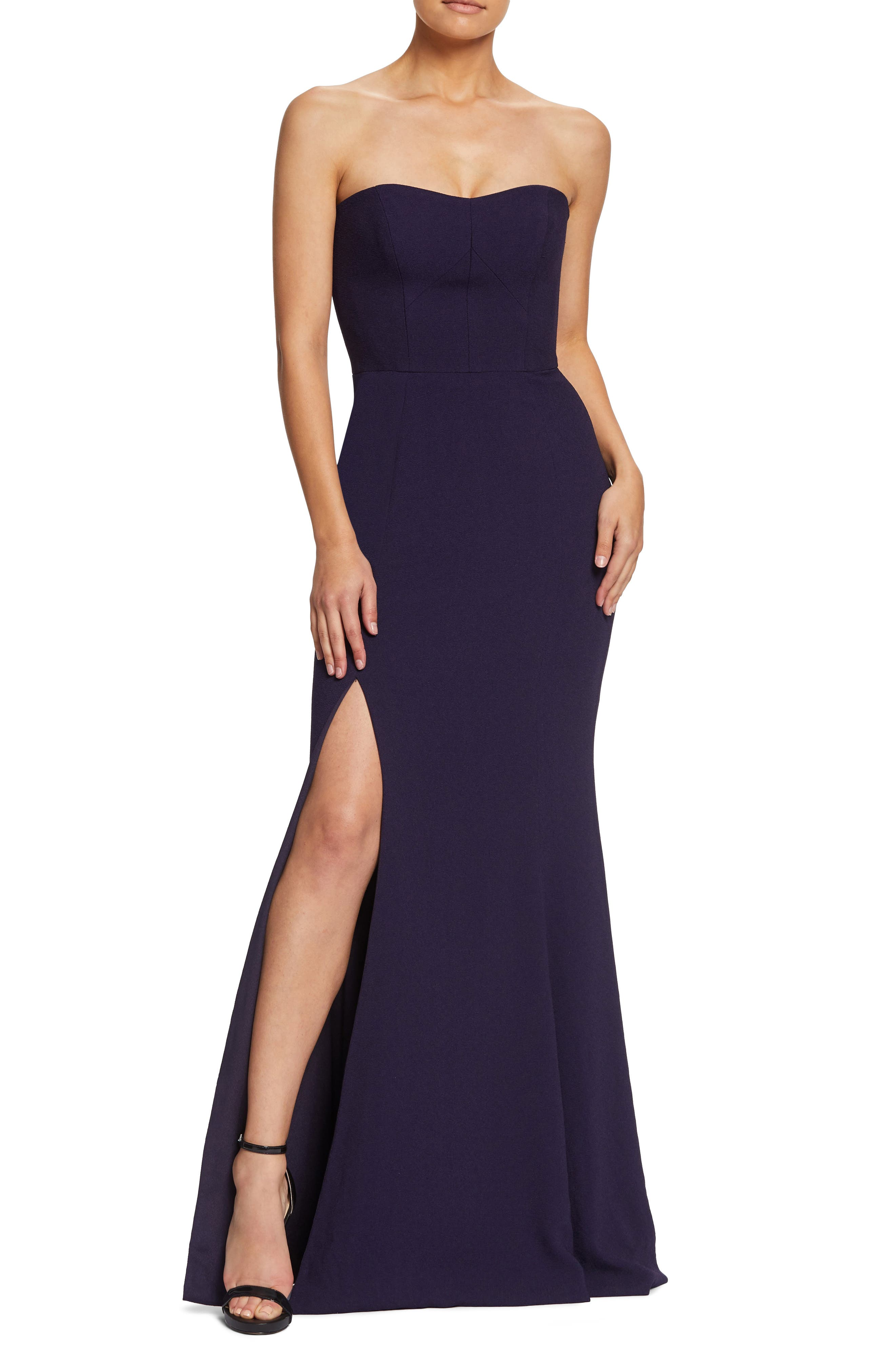Dress The Population Ellen Strapless Gown, Purple
