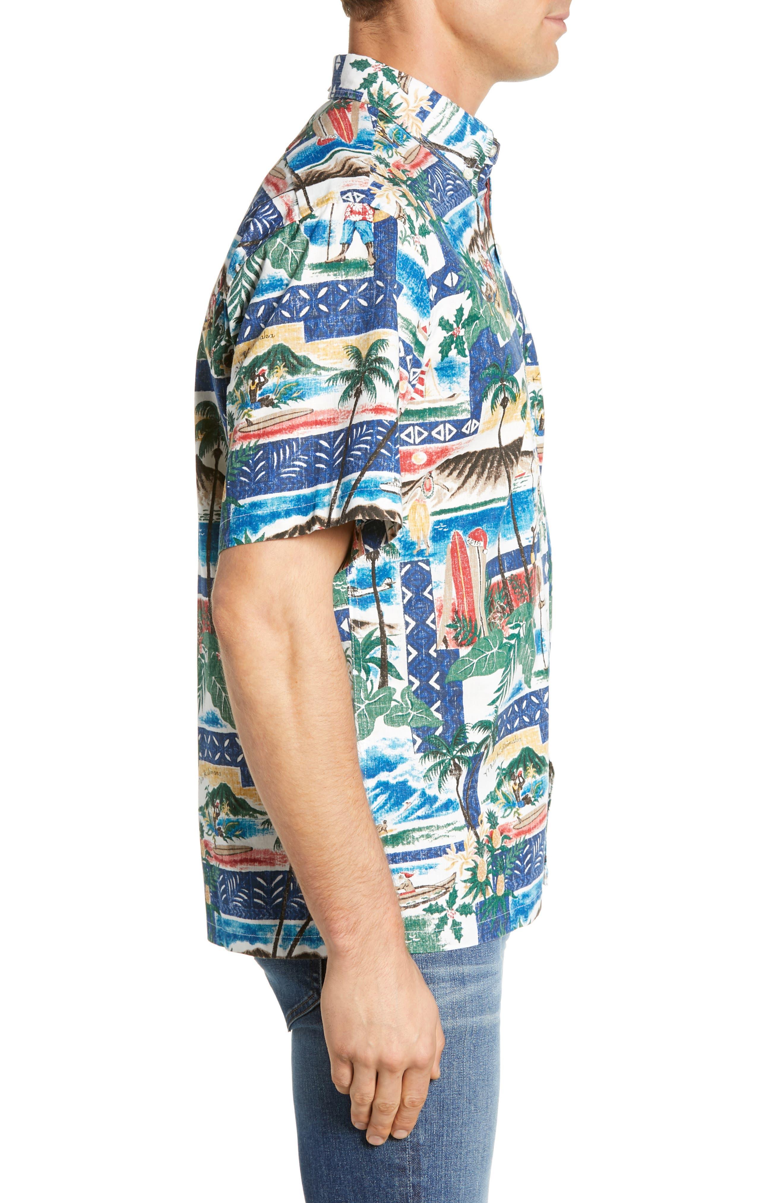REYN SPOONER, Hawaiian Christmas 2018 Classic Fit Sport Shirt, Alternate thumbnail 4, color, 420