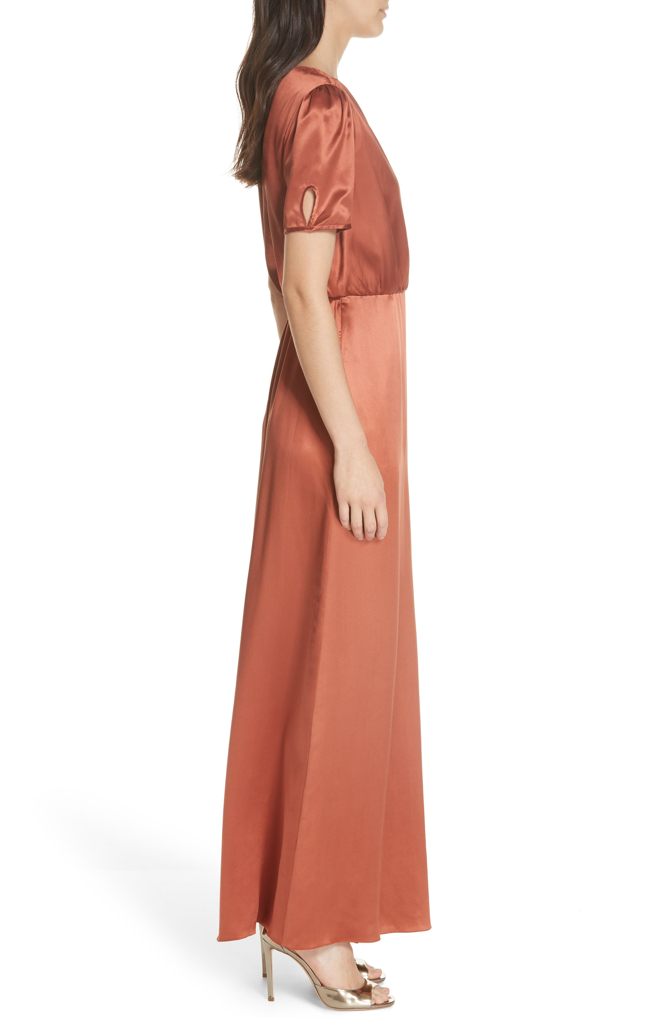 SALONI, Lea Silk Wrap Dress, Alternate thumbnail 3, color, DEEP RUSH