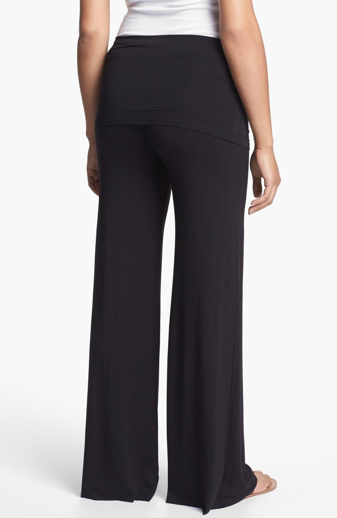 MATERNAL AMERICA, Knit Flare Leg Maternity Pants, Alternate thumbnail 3, color, BLACK