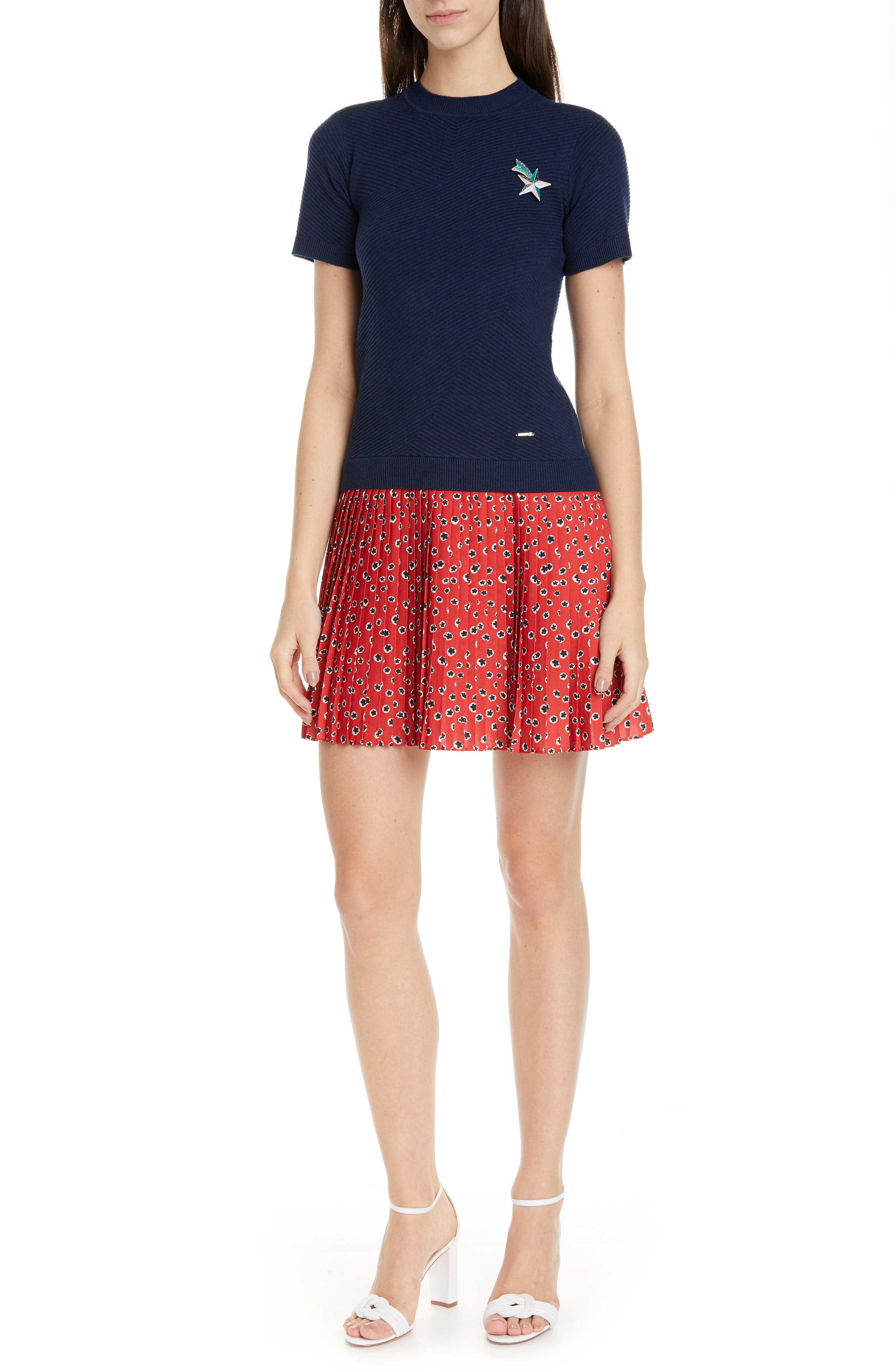 Ted Baker London Colour By Numbers Gememma Mix Media Dress, Blue