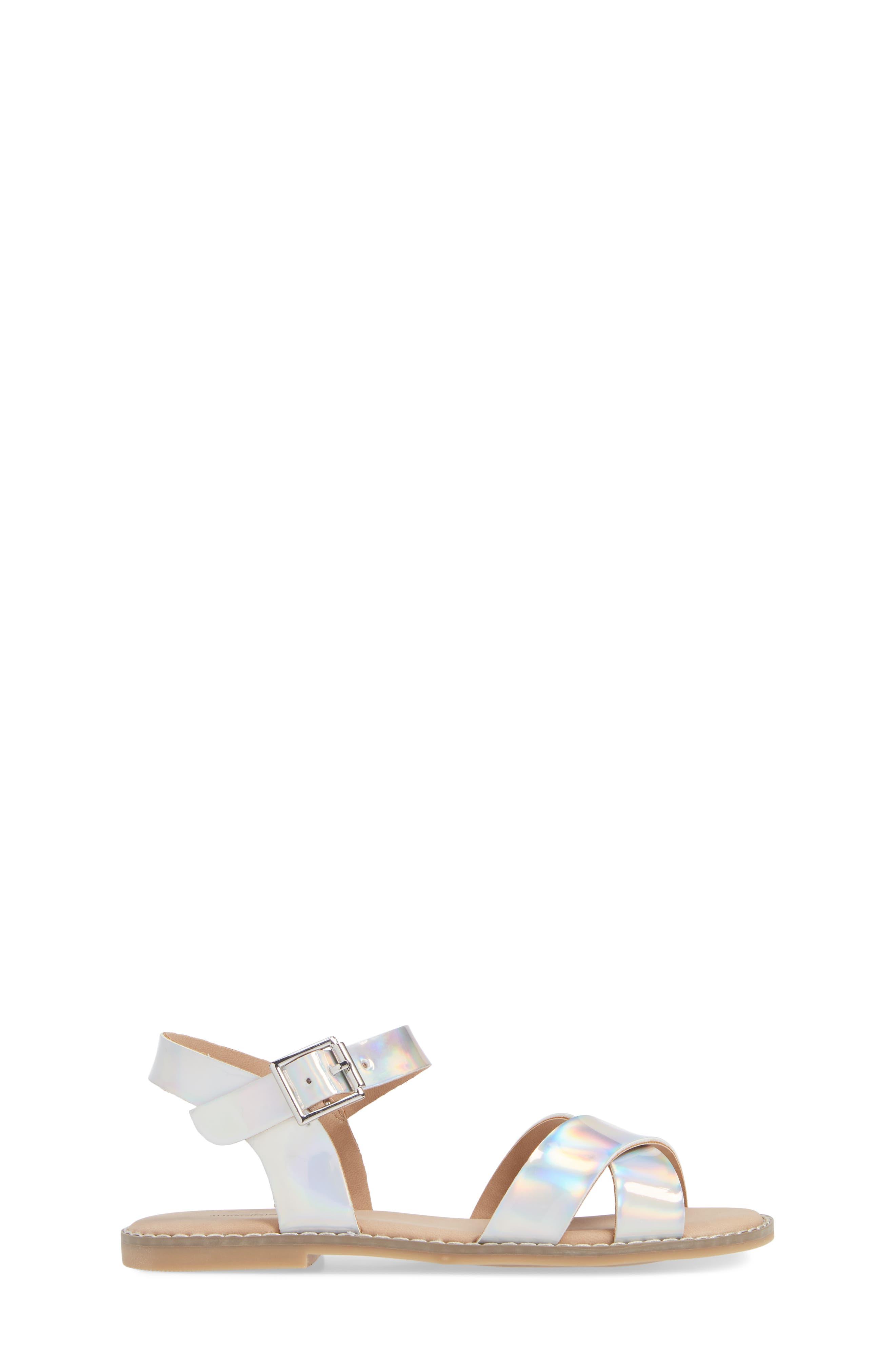 TUCKER + TATE, Arya Cross Strap Sandal, Alternate thumbnail 3, color, SILVER HOLOGRAM FAUX LEATHER
