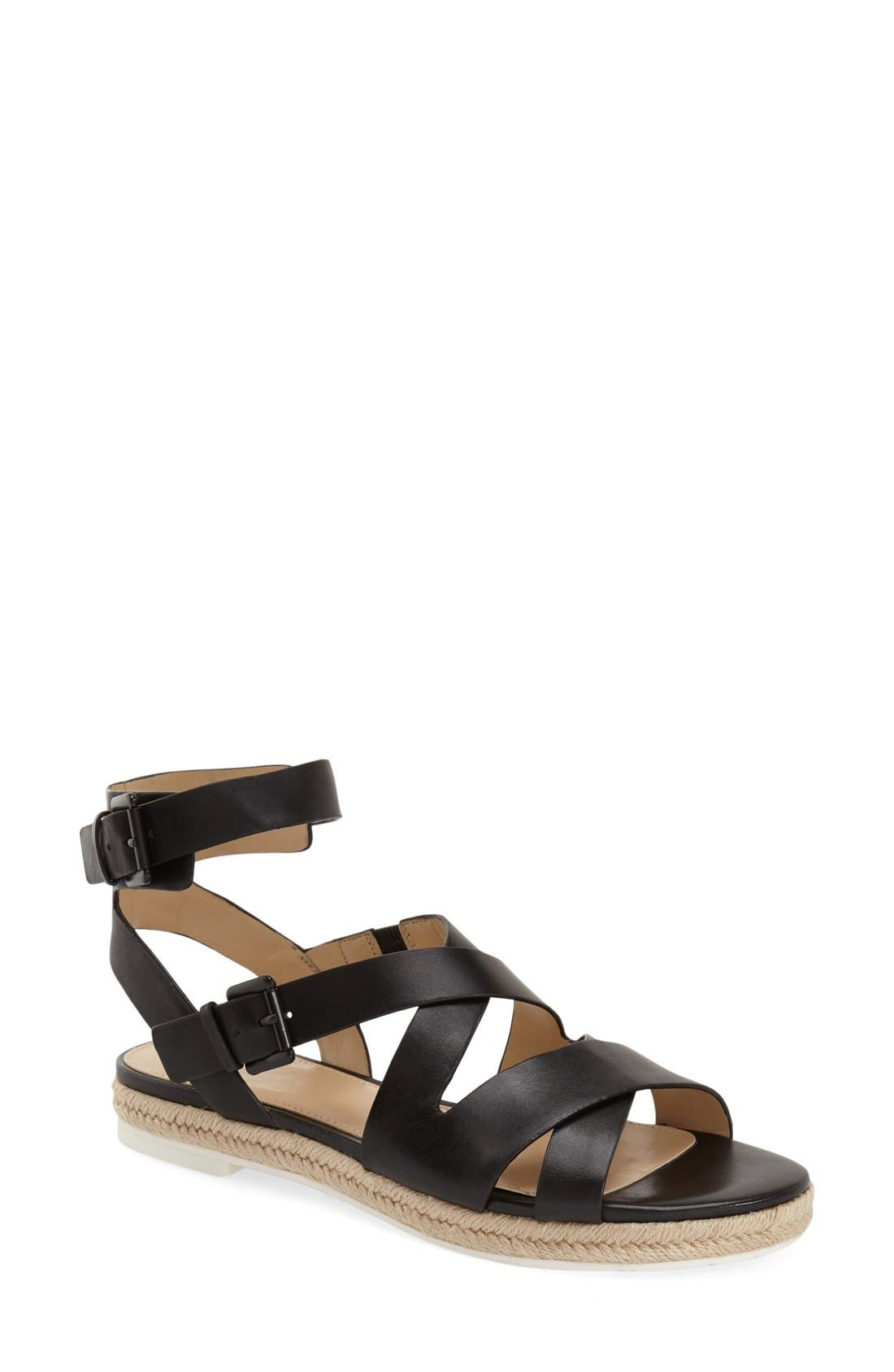 MARC FISHER LTD, 'Alysse' Flat Sandal, Main thumbnail 1, color, 001