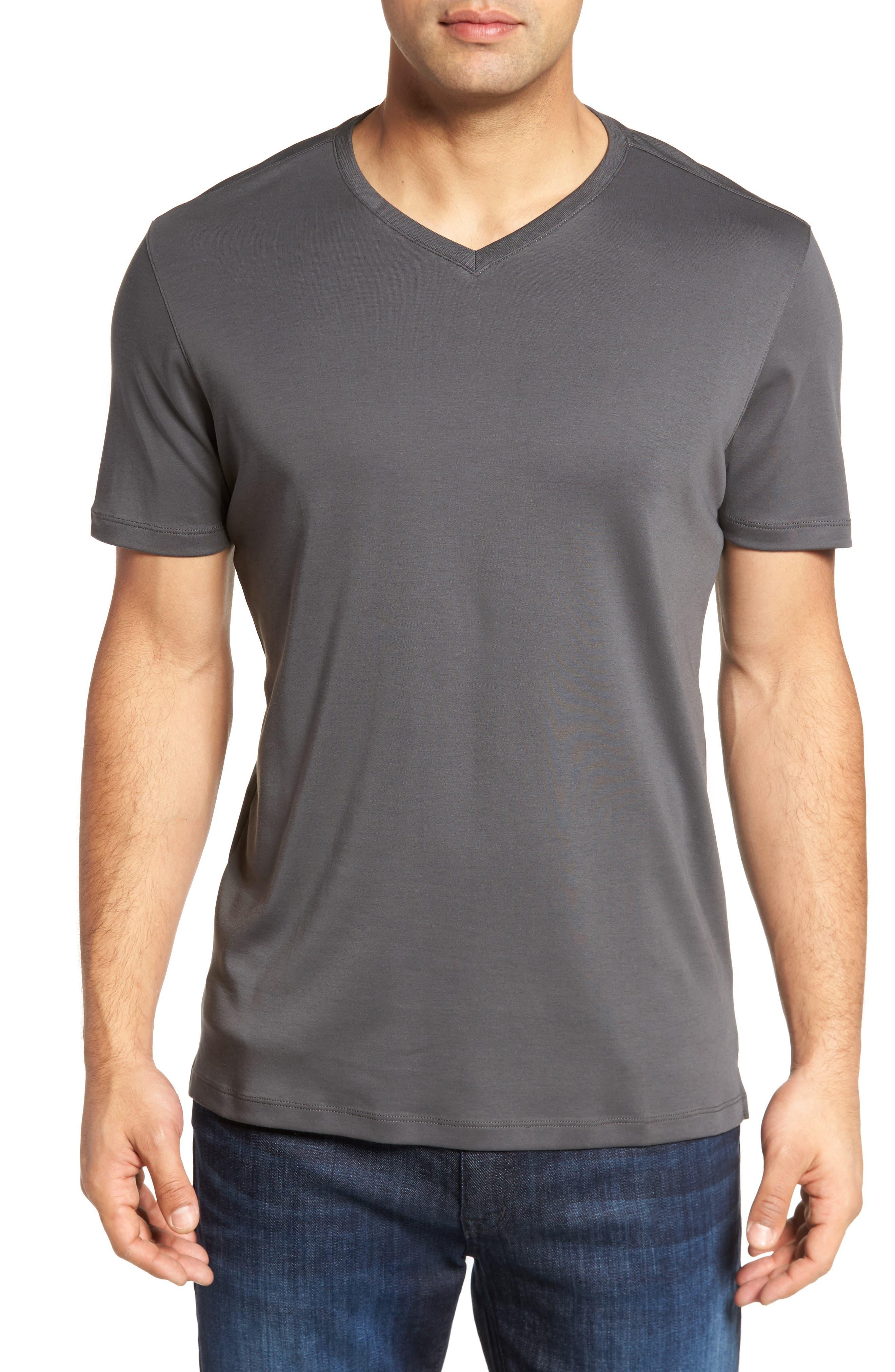 ROBERT BARAKETT, Georgia Regular Fit V-Neck T-Shirt, Main thumbnail 1, color, IRON