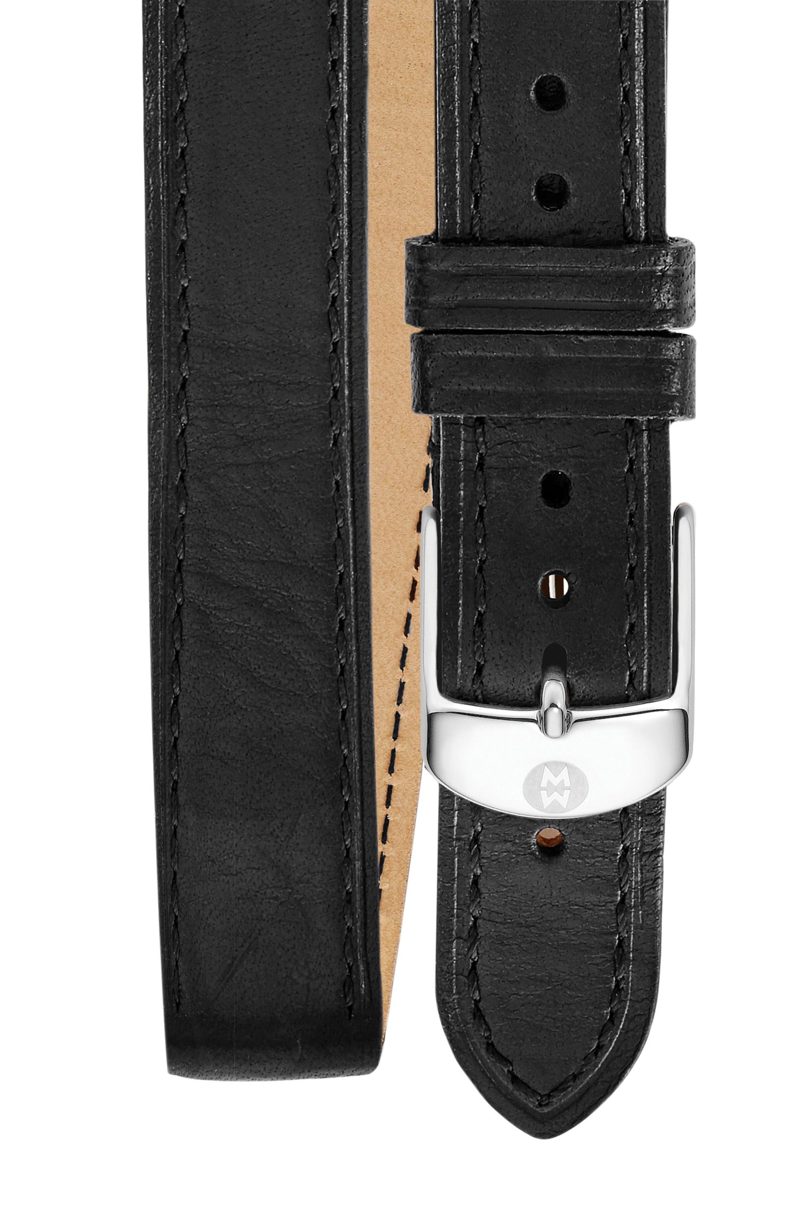 MICHELE 16mm Double Wrap Leather Watch Strap, Main, color, BLACK