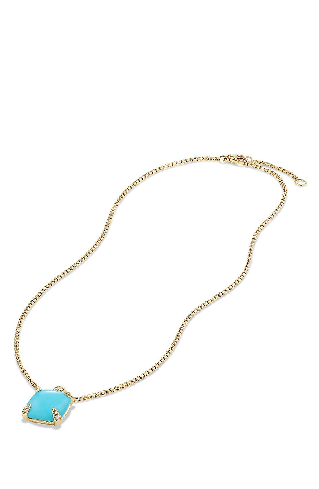 DAVID YURMAN, 'Châtelaine' Pendant Necklace with Diamonds in 18K Gold, Alternate thumbnail 3, color, TURQUOISE