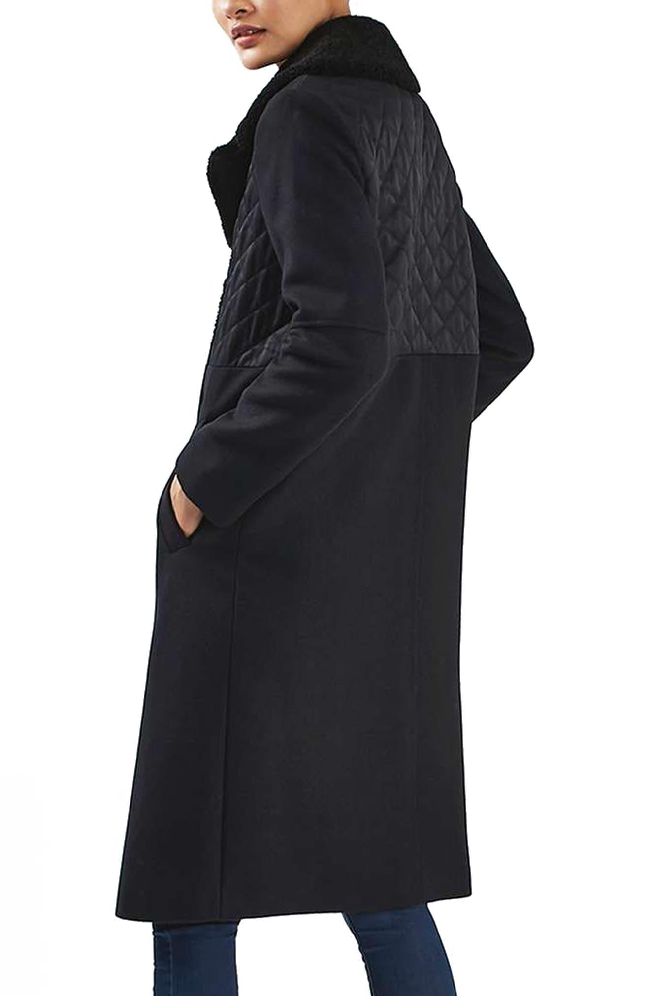 TOPSHOP, Faux Shearling Collar Coat, Alternate thumbnail 2, color, 410