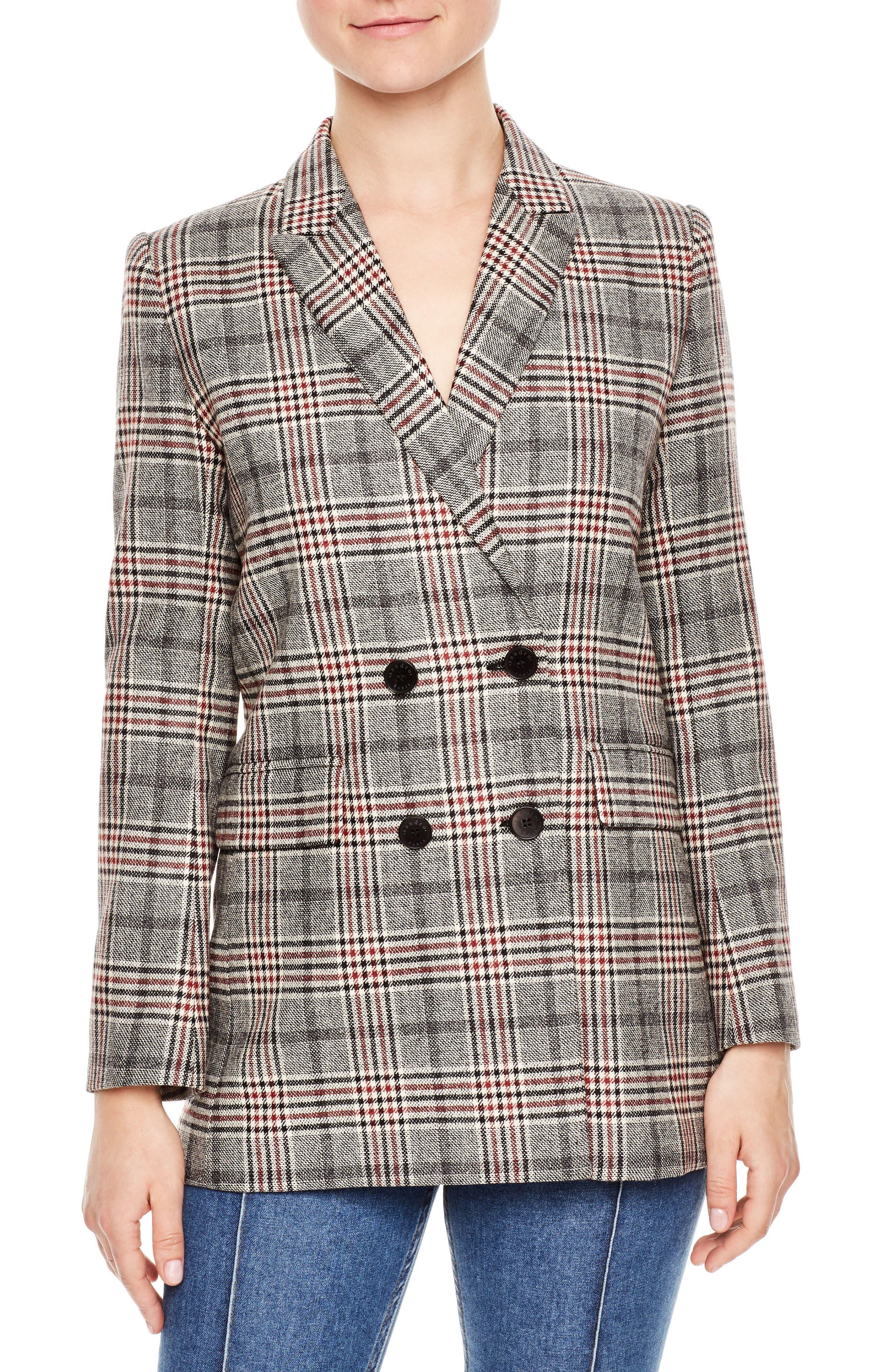 SANDRO, Plaid Wool Blend Jacket, Main thumbnail 1, color, 020