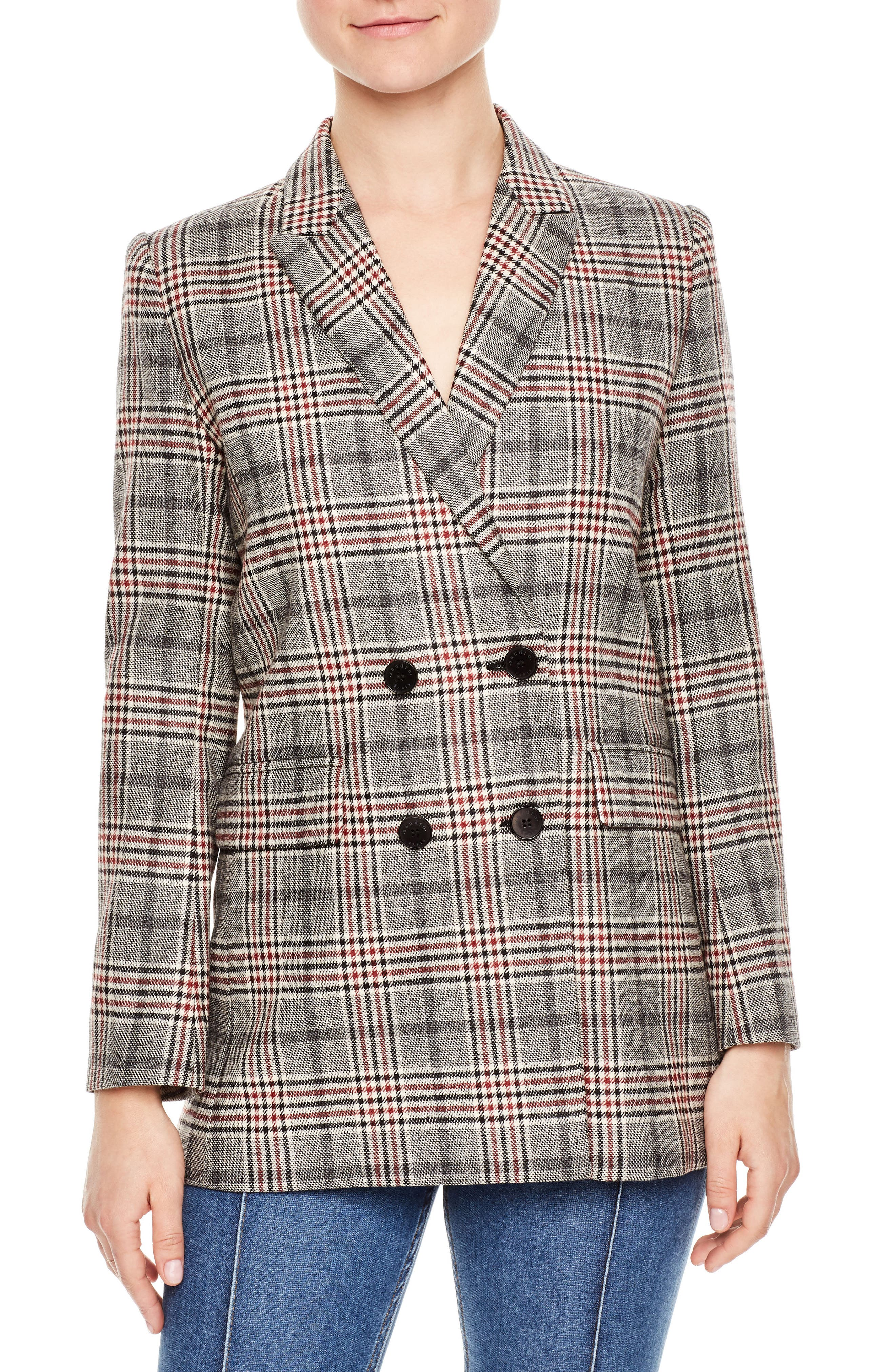 SANDRO Plaid Wool Blend Jacket, Main, color, 020