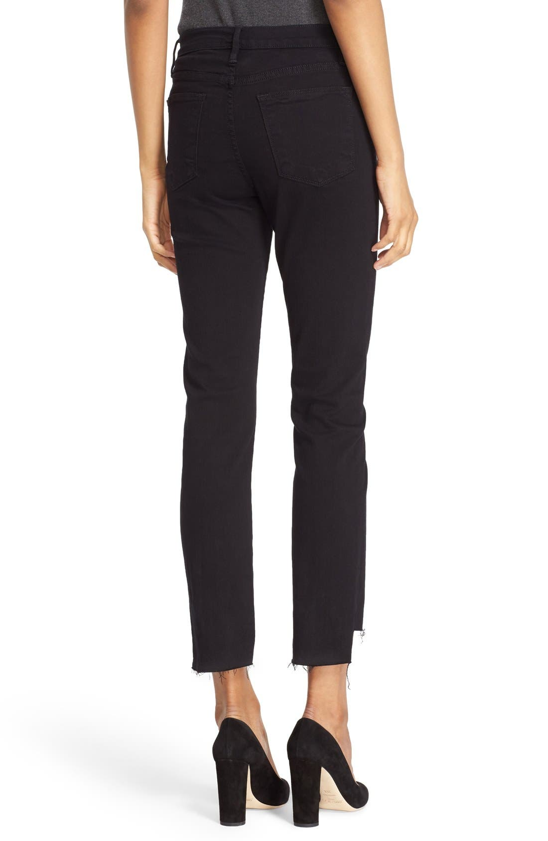 FRAME, Le High Straight High Waist Staggered Hem Jeans, Alternate thumbnail 6, color, FILM NOIR