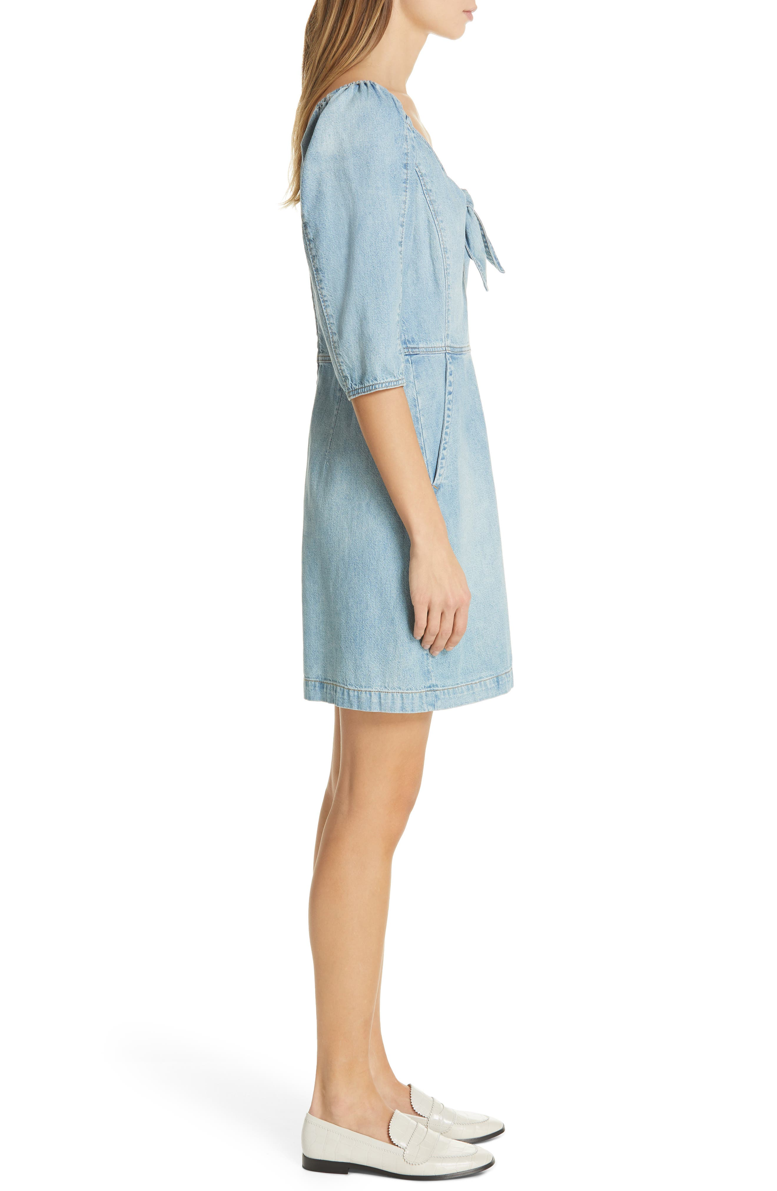 LA VIE REBECCA TAYLOR, Tie Neck Denim Dress, Alternate thumbnail 3, color, FORGET ME NOT WASH