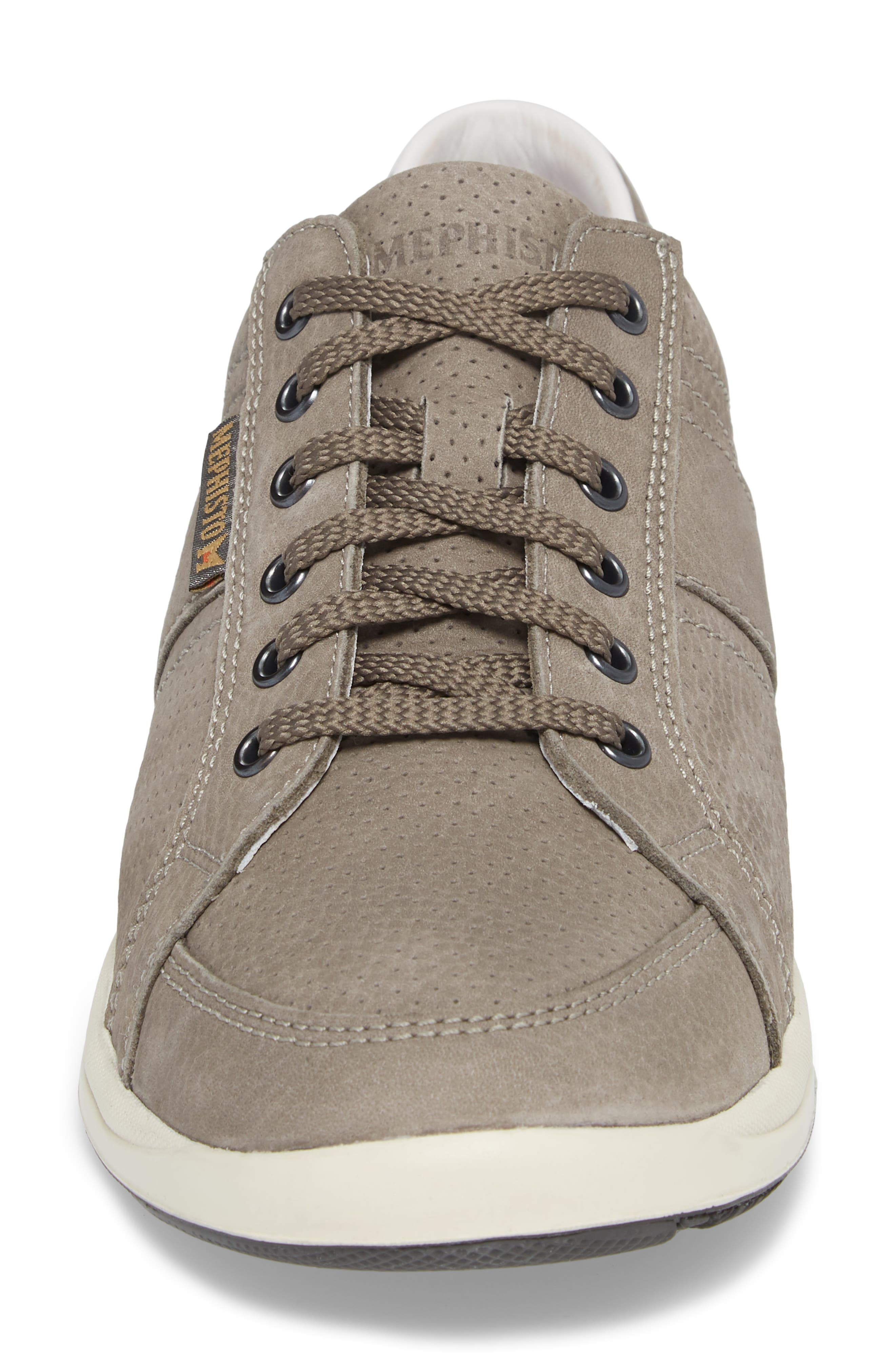 MEPHISTO, 'Hero' Perforated Sneaker, Alternate thumbnail 4, color, GREY LEATHER