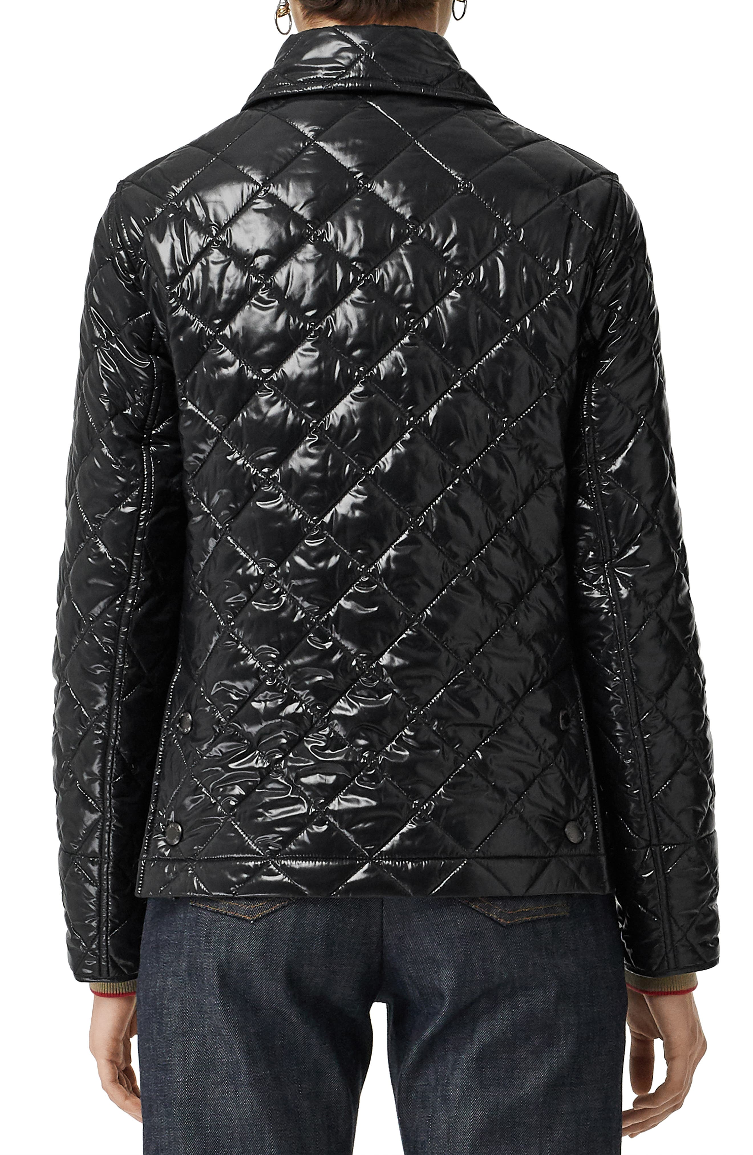BURBERRY, Heathfield Frinton Knit Cuff Quilted Jacket, Alternate thumbnail 2, color, BLACK