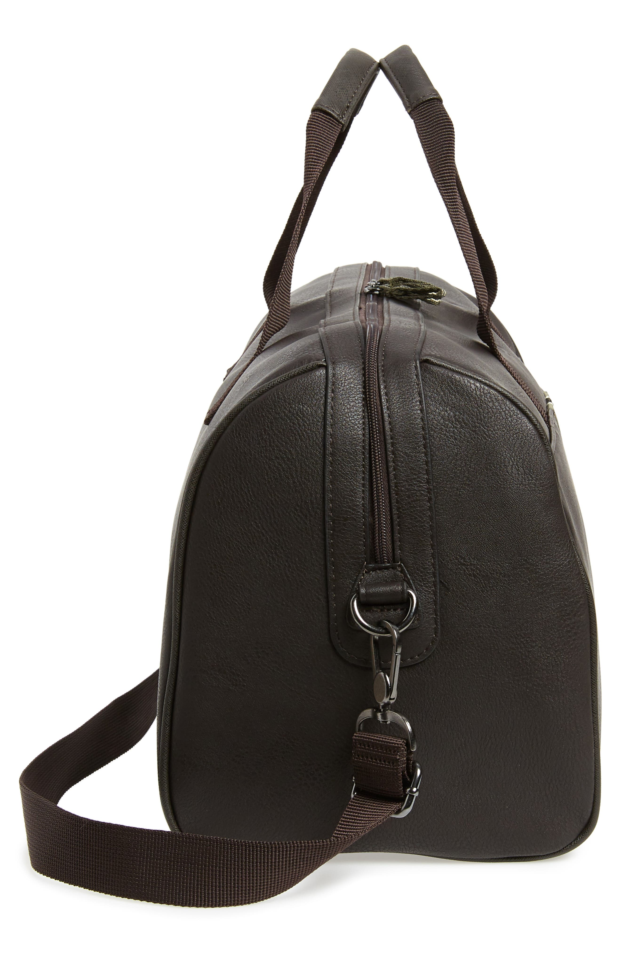 TED BAKER LONDON, Webbing Duffle Bag, Alternate thumbnail 5, color, CHOCOLATE
