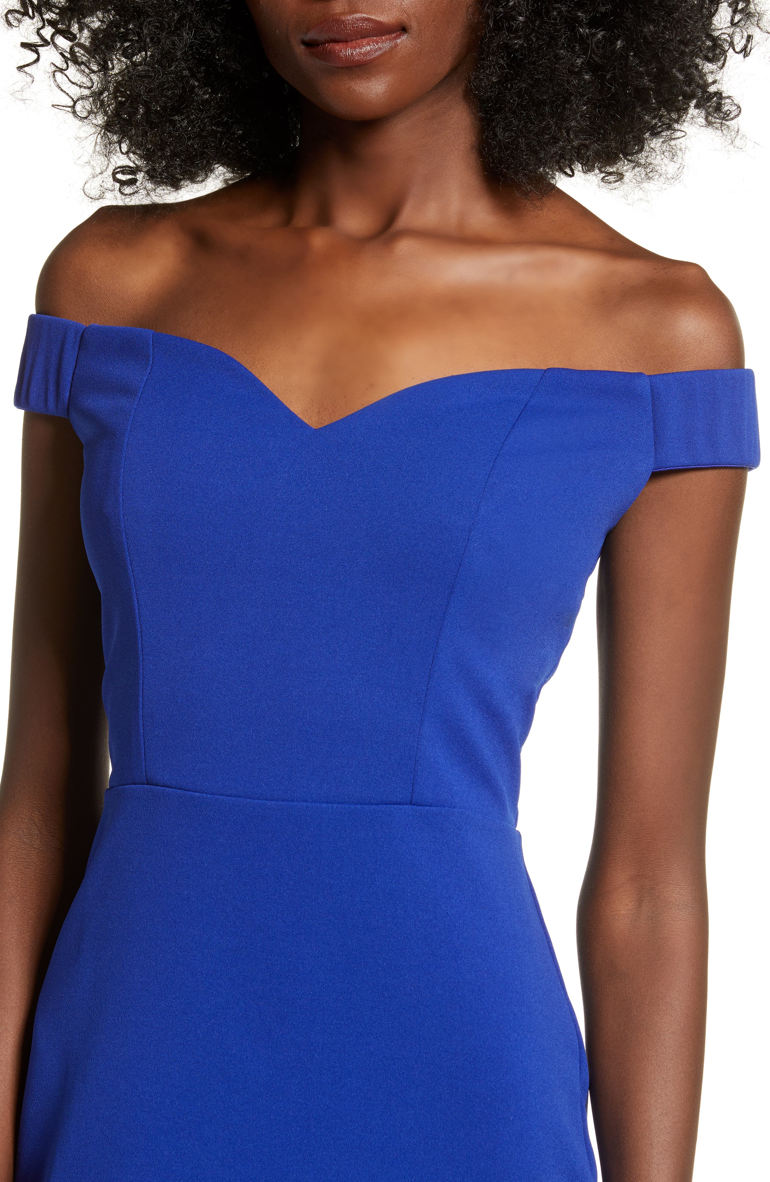 LOVE, NICKIE LEW, Off the Shoulder Body-Con Dress, Alternate thumbnail 5, color, 400