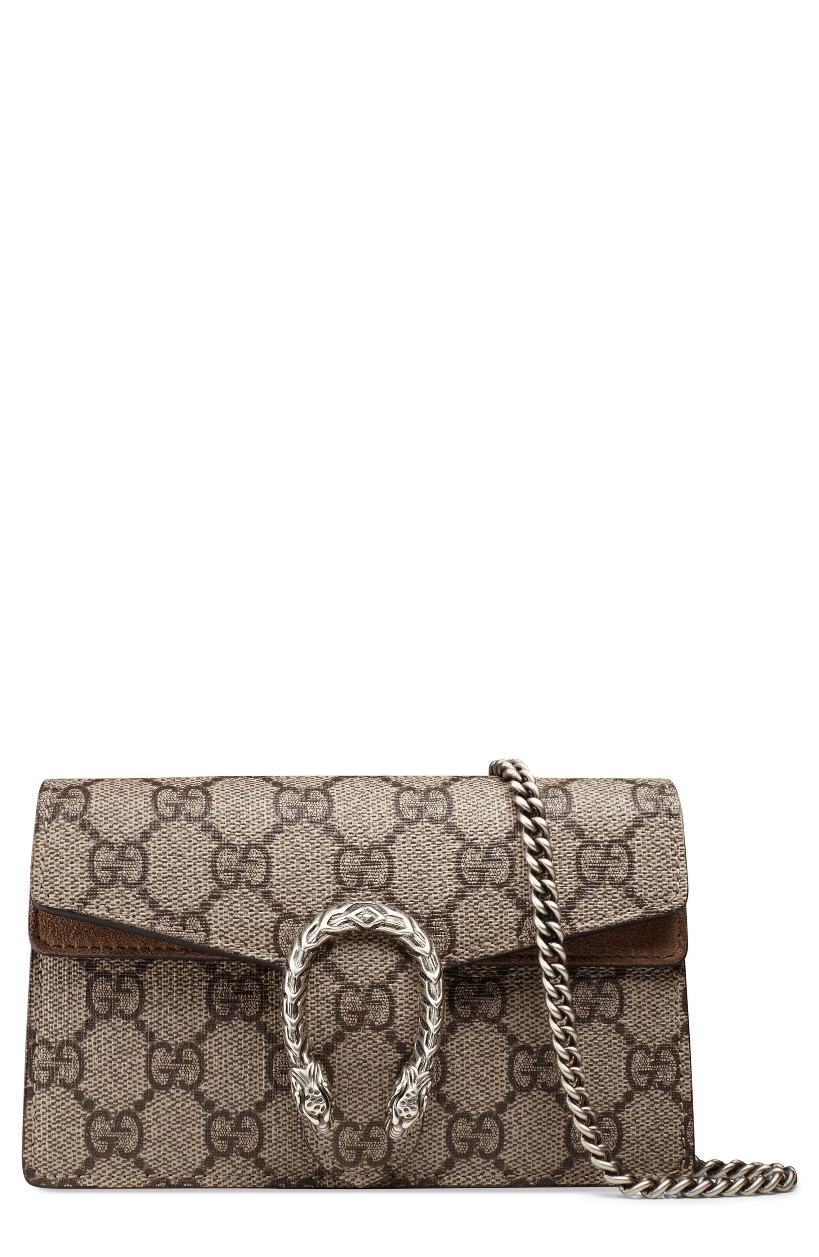 GUCCI, Super Mini Dionysus GG Supreme Canvas & Suede Shoulder Bag, Main thumbnail 1, color, 250