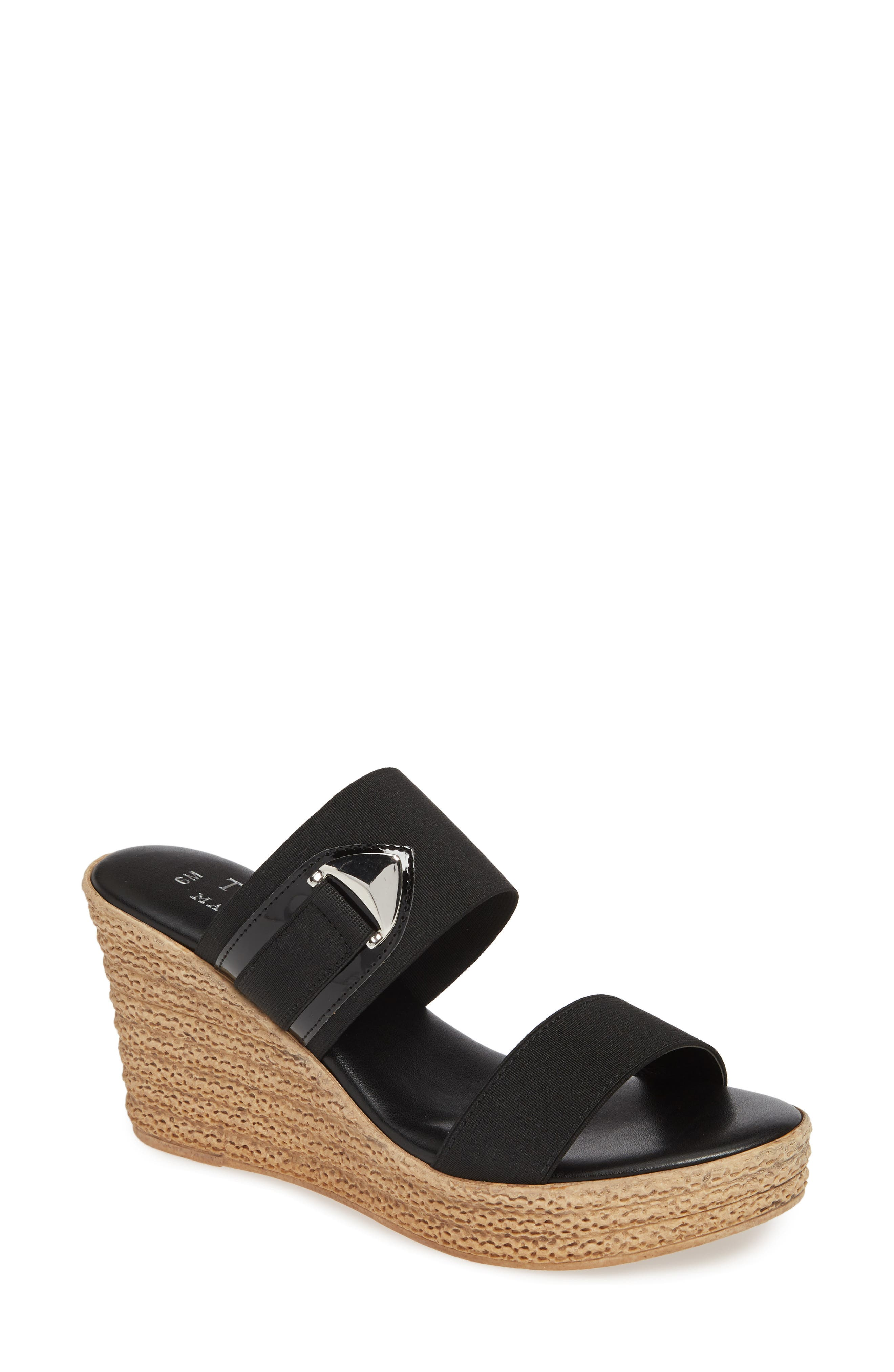 TUSCANY BY EASY STREET<SUP>®</SUP> Marisole Platform Wedge Sandal, Main, color, BLACK LEATHER