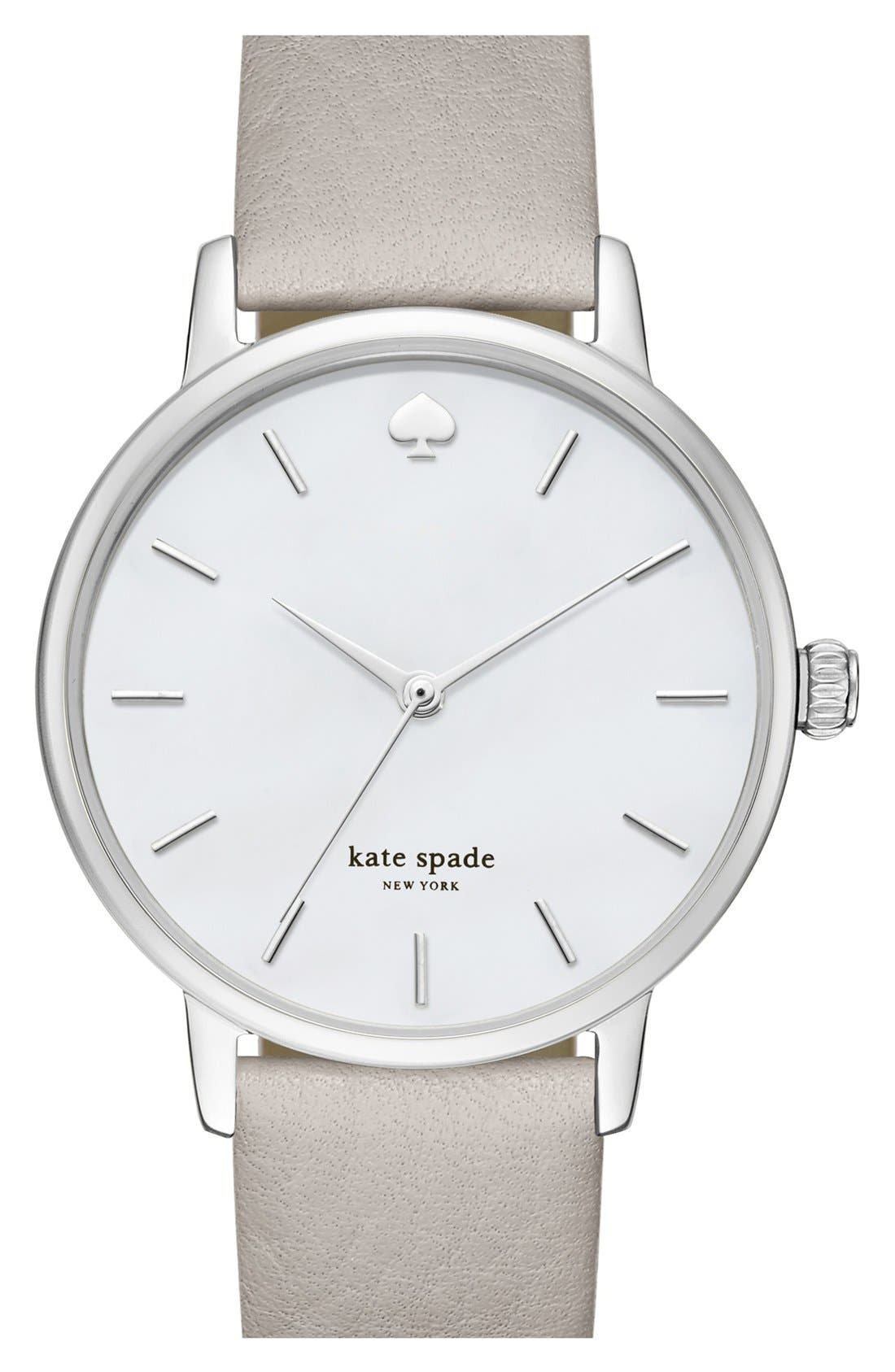 KATE SPADE NEW YORK, 'metro' round leather strap watch, 34mm, Main thumbnail 1, color, GREY/ MOTHER OF PEARL
