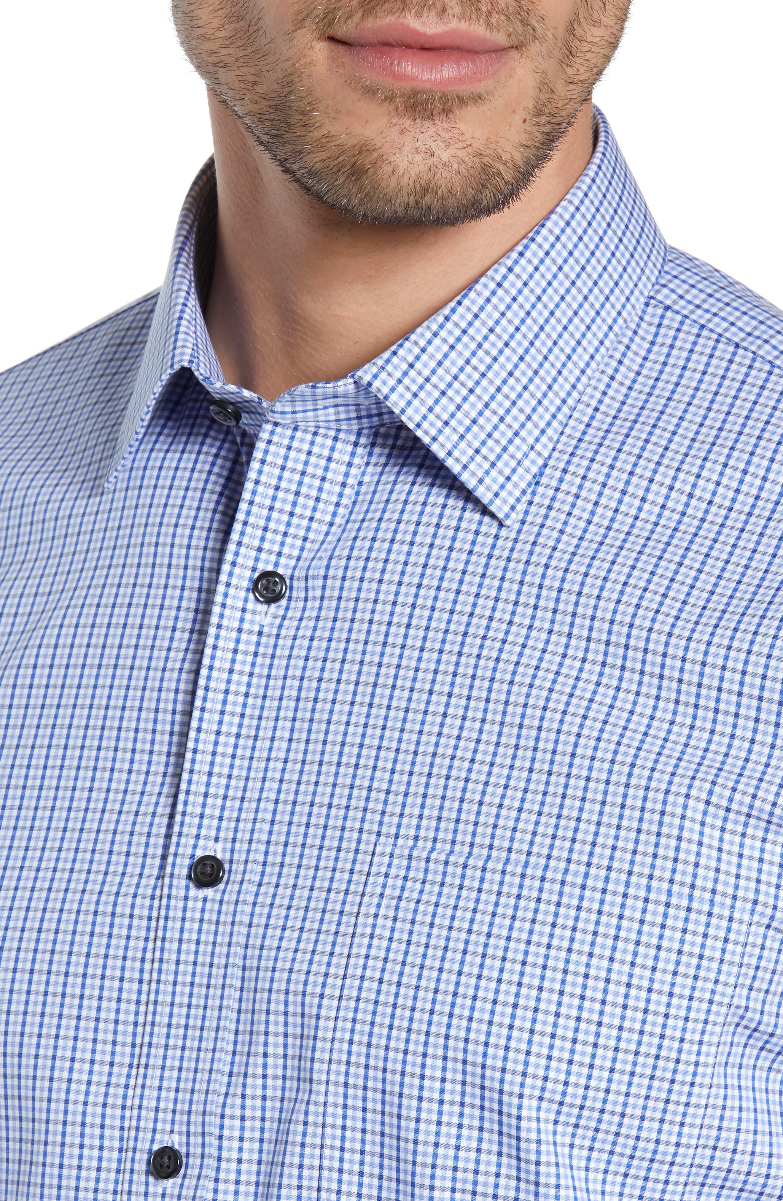 NORDSTROM MEN'S SHOP, Traditional Fit Non-Iron Check Dress Shirt, Alternate thumbnail 2, color, BLUE MARINE