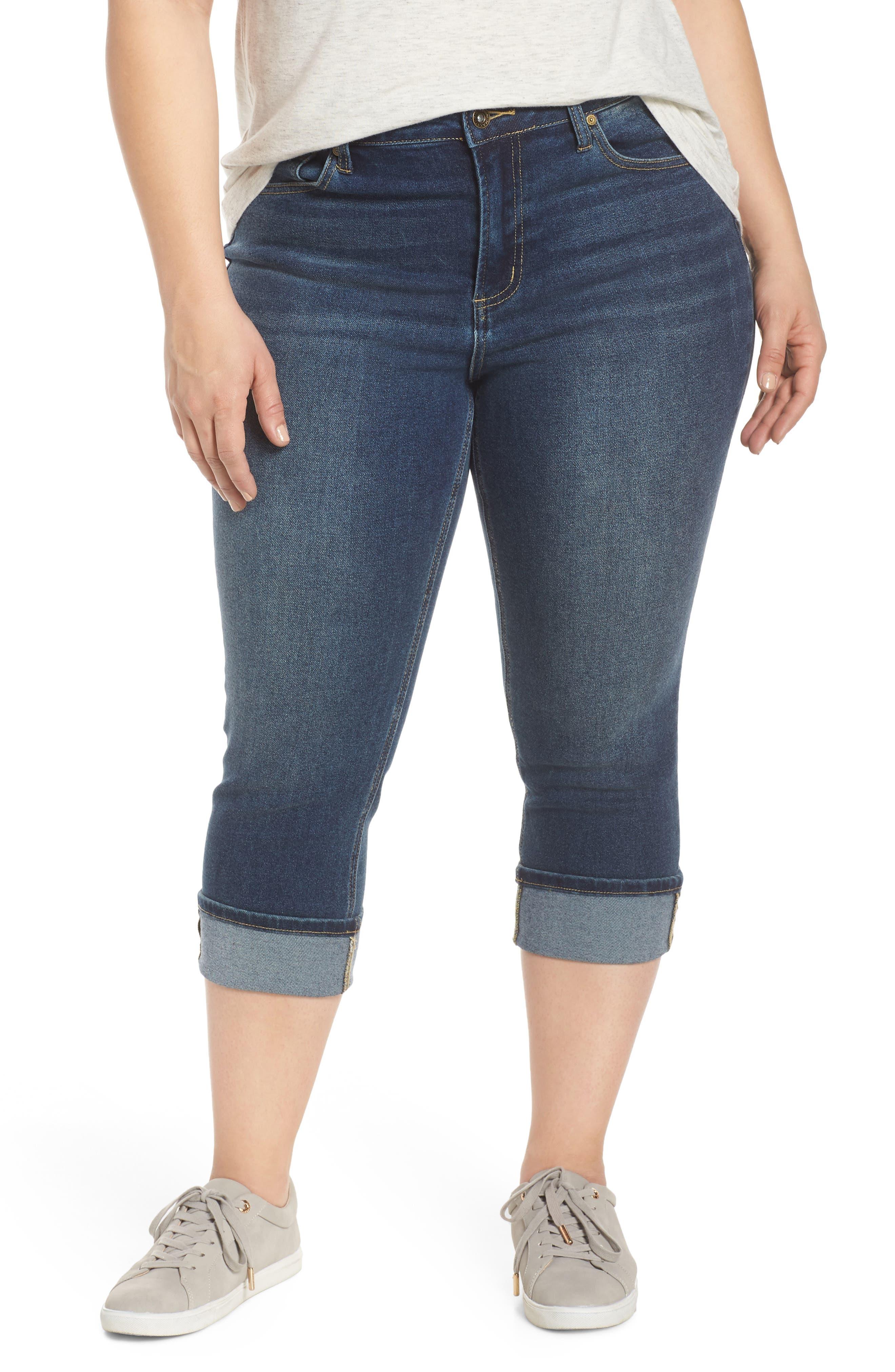 MAXSTUDIO INDIGO High Waist Crop Skinny Jeans, Main, color, JADE
