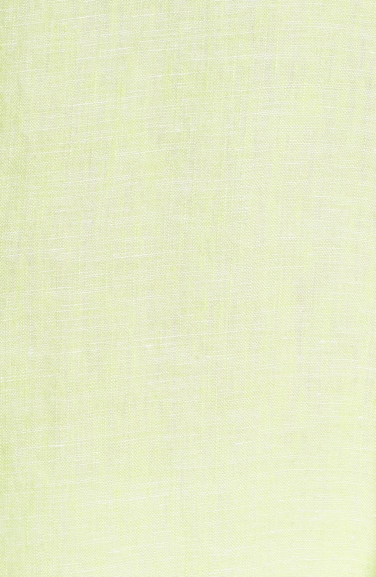 FOXCROFT, Linen Chambray Tunic, Alternate thumbnail 5, color, KEY LIME