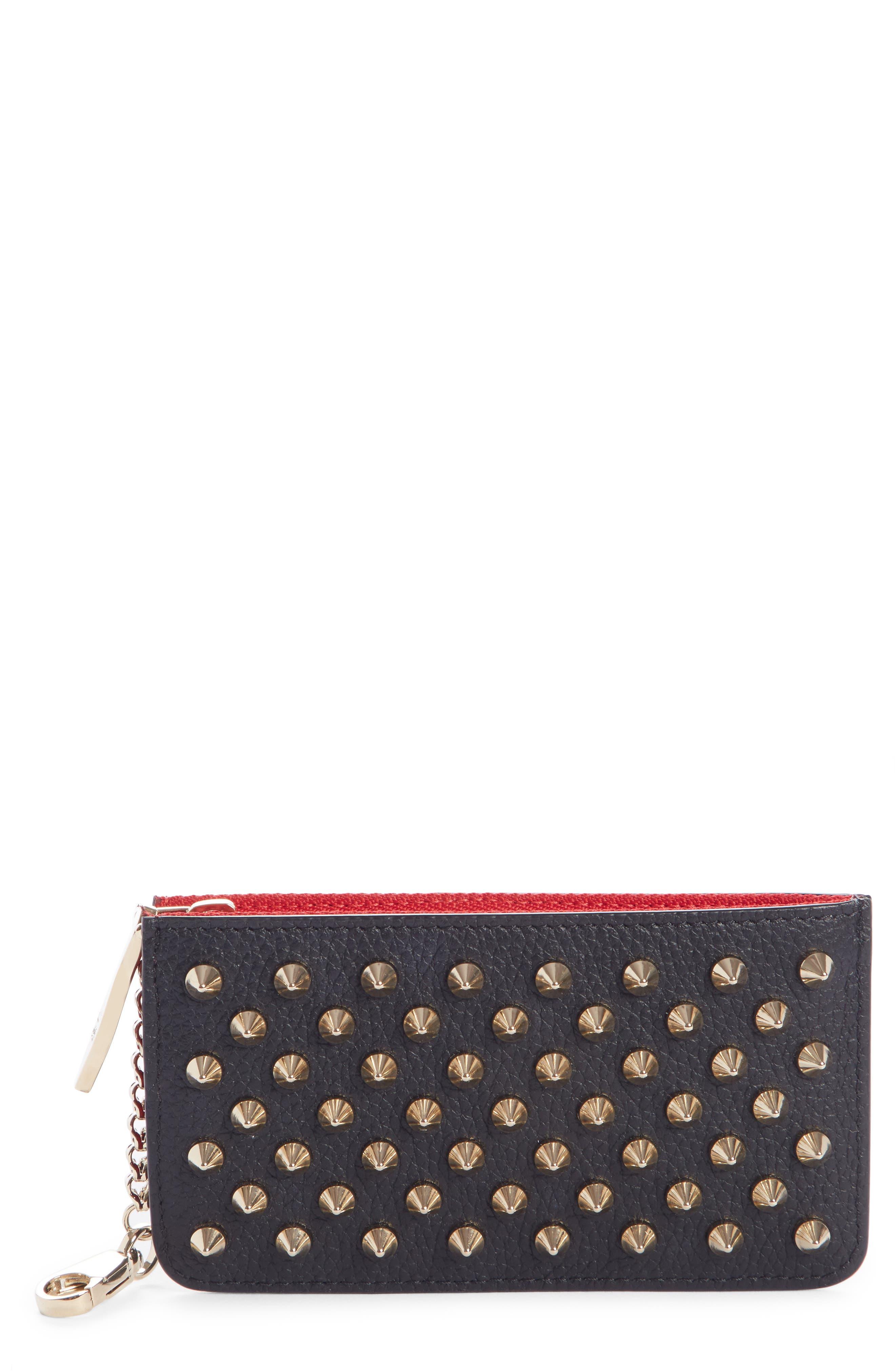 CHRISTIAN LOUBOUTIN, Credilou Calfskin Leather Zip Card Case, Main thumbnail 1, color, BLACK/ GOLD