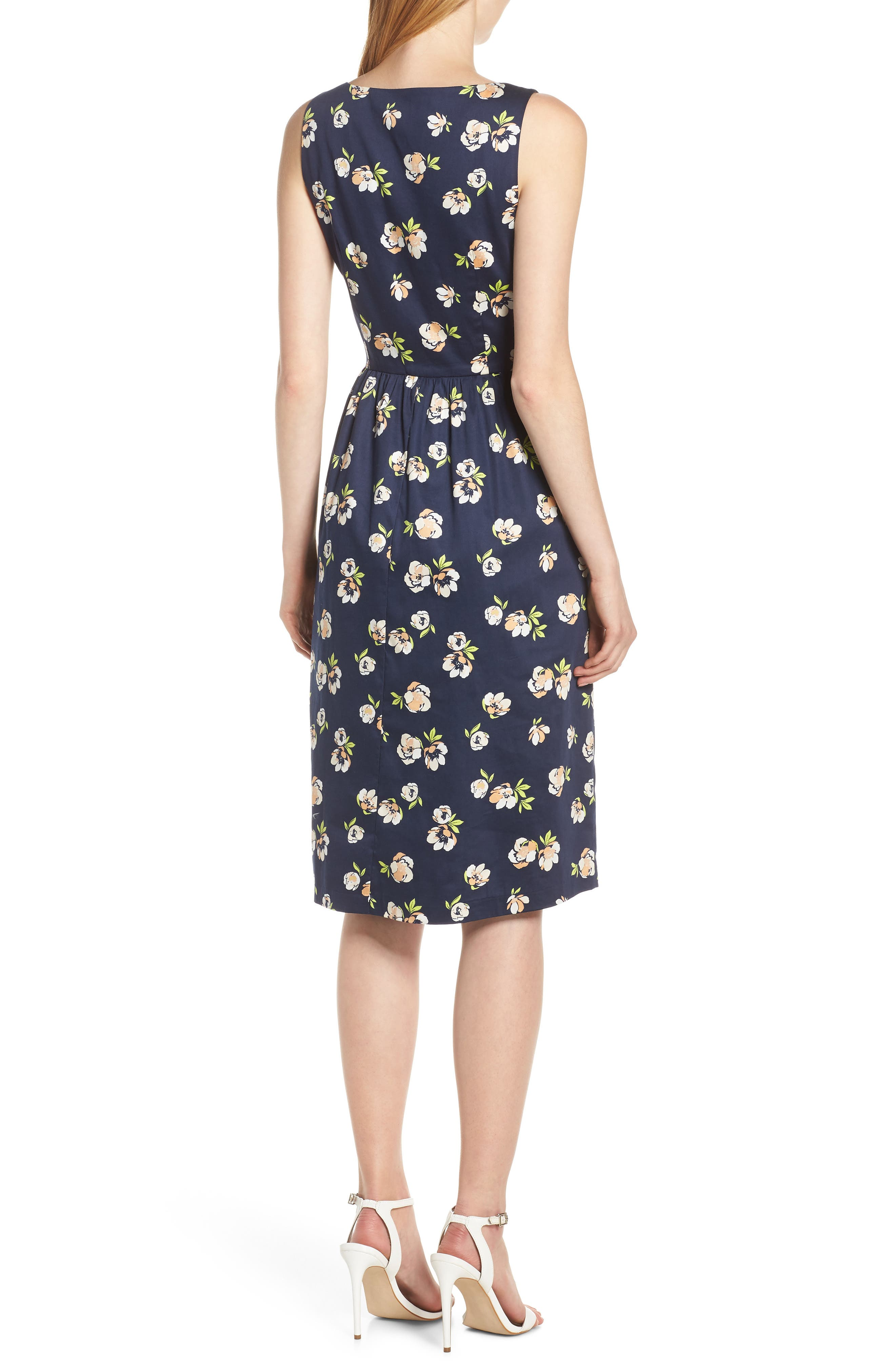 CHARLES HENRY, Sleeveless Fit & Flare Dress, Alternate thumbnail 2, color, NAVY PEACH FLORAL