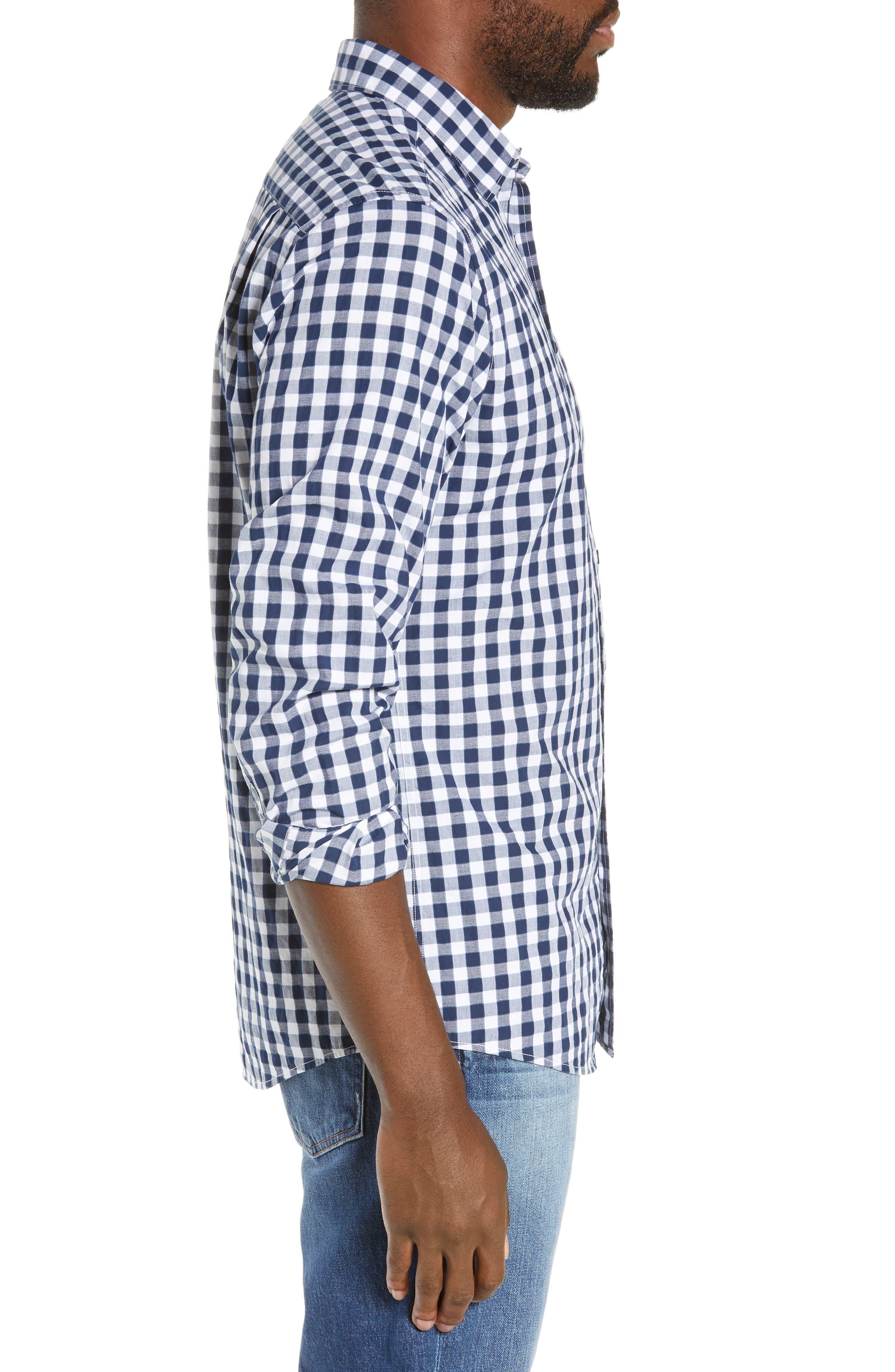 RODD & GUNN, Dixon Check Sport Shirt, Alternate thumbnail 4, color, NAVY