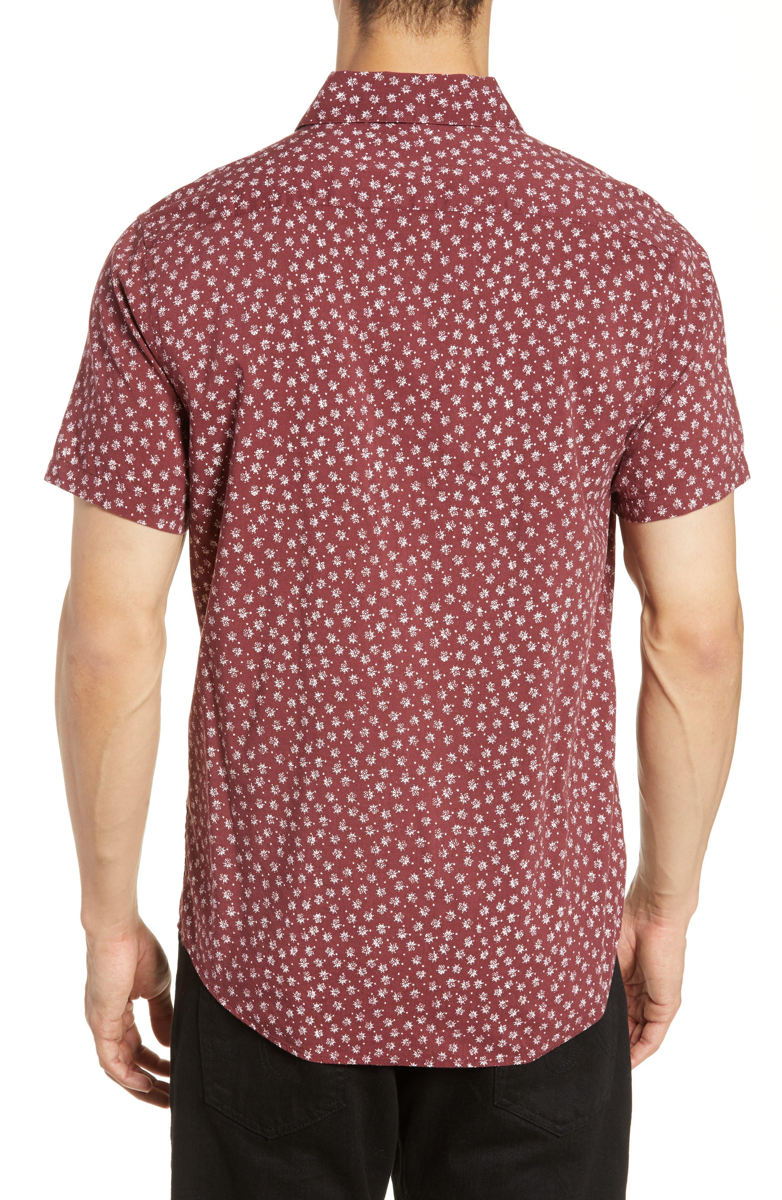 RVCA, Ficus Floral Print Shirt, Alternate thumbnail 3, color, BORDEAUX