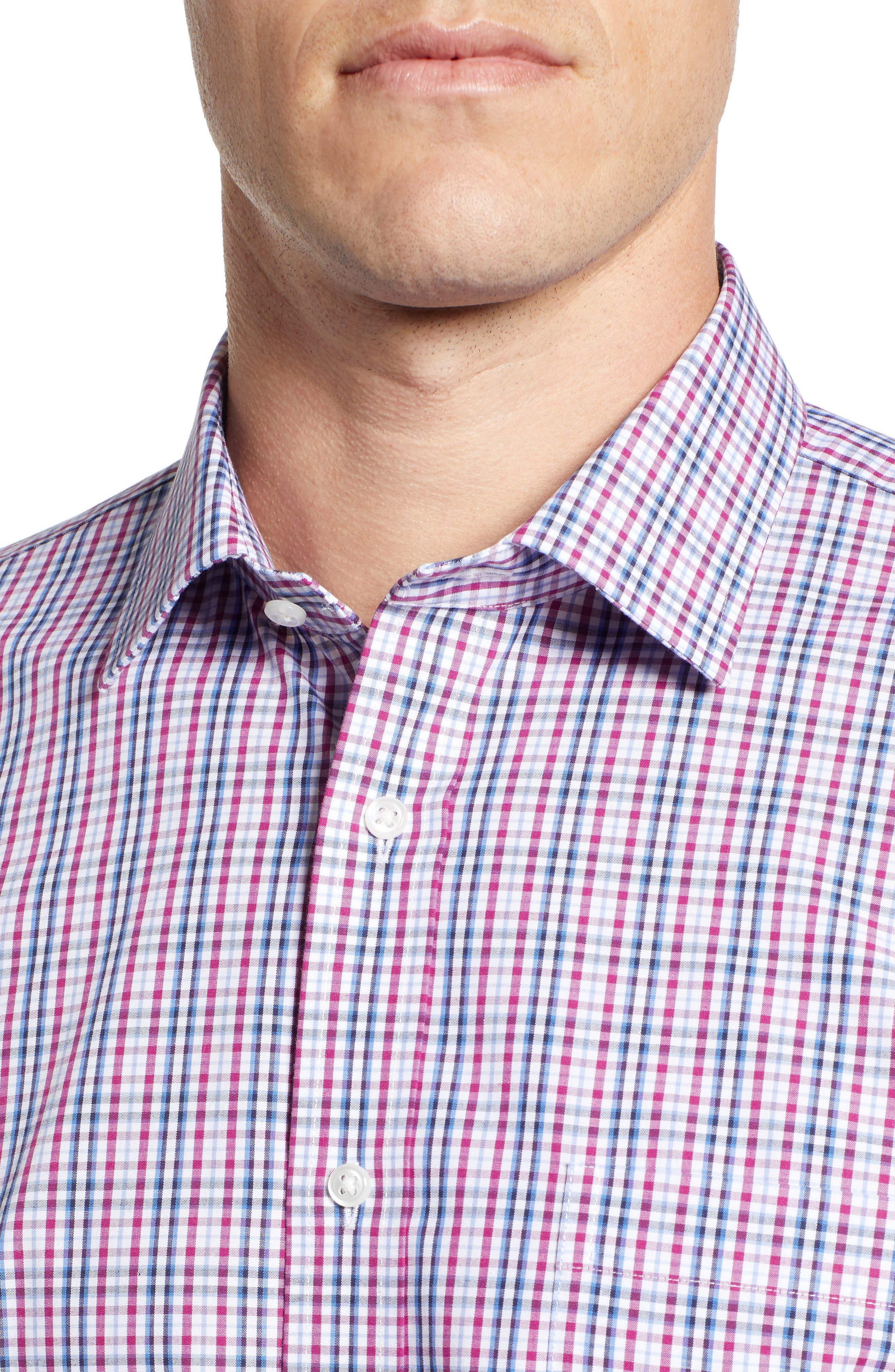 NORDSTROM MEN'S SHOP, Non-Iron Trim Fit Plaid Dress Shirt, Alternate thumbnail 2, color, PURPLE BOYSEN