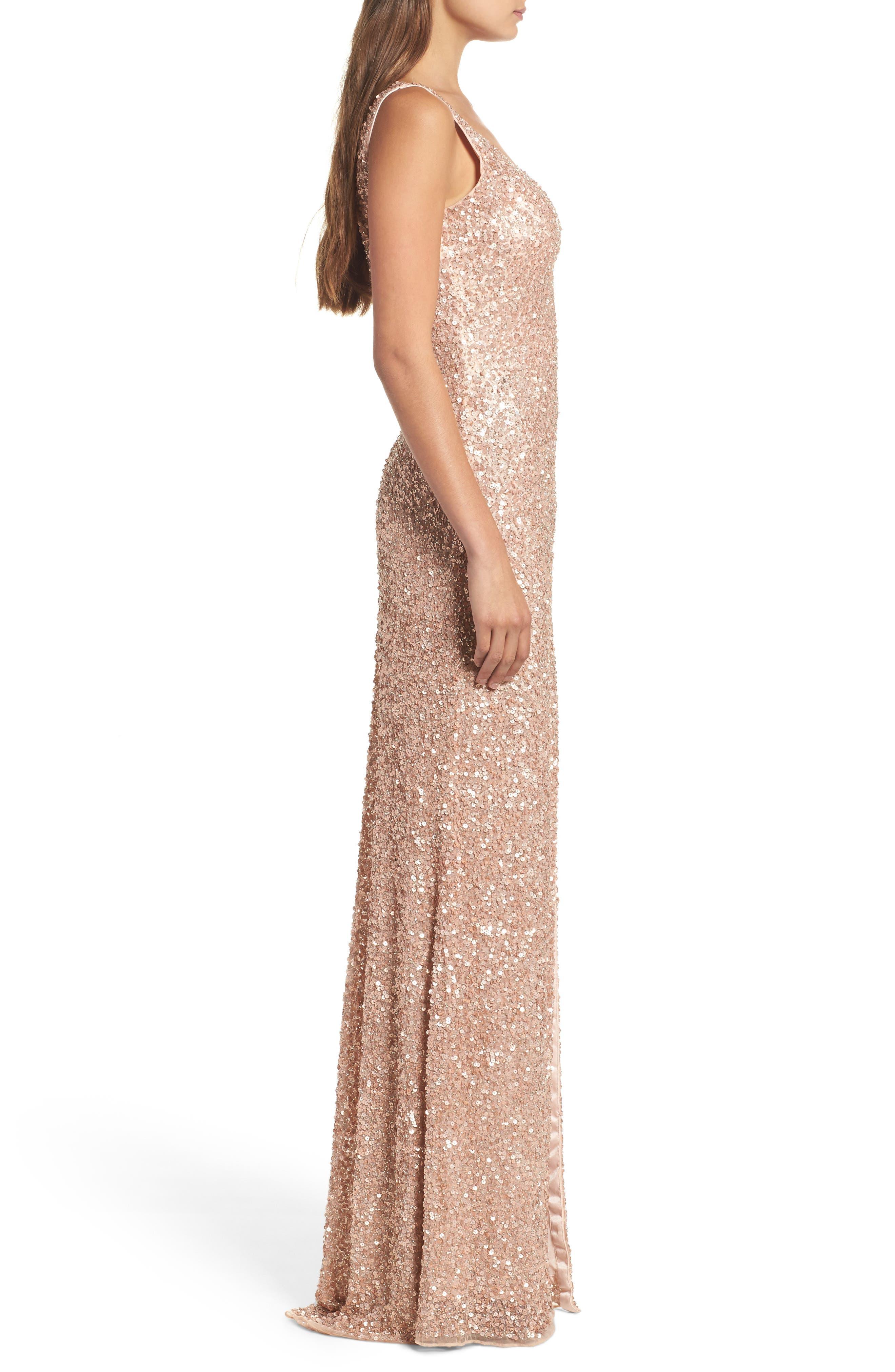 MAC DUGGAL, Sequin Slit Gown, Alternate thumbnail 3, color, ROSE GOLD