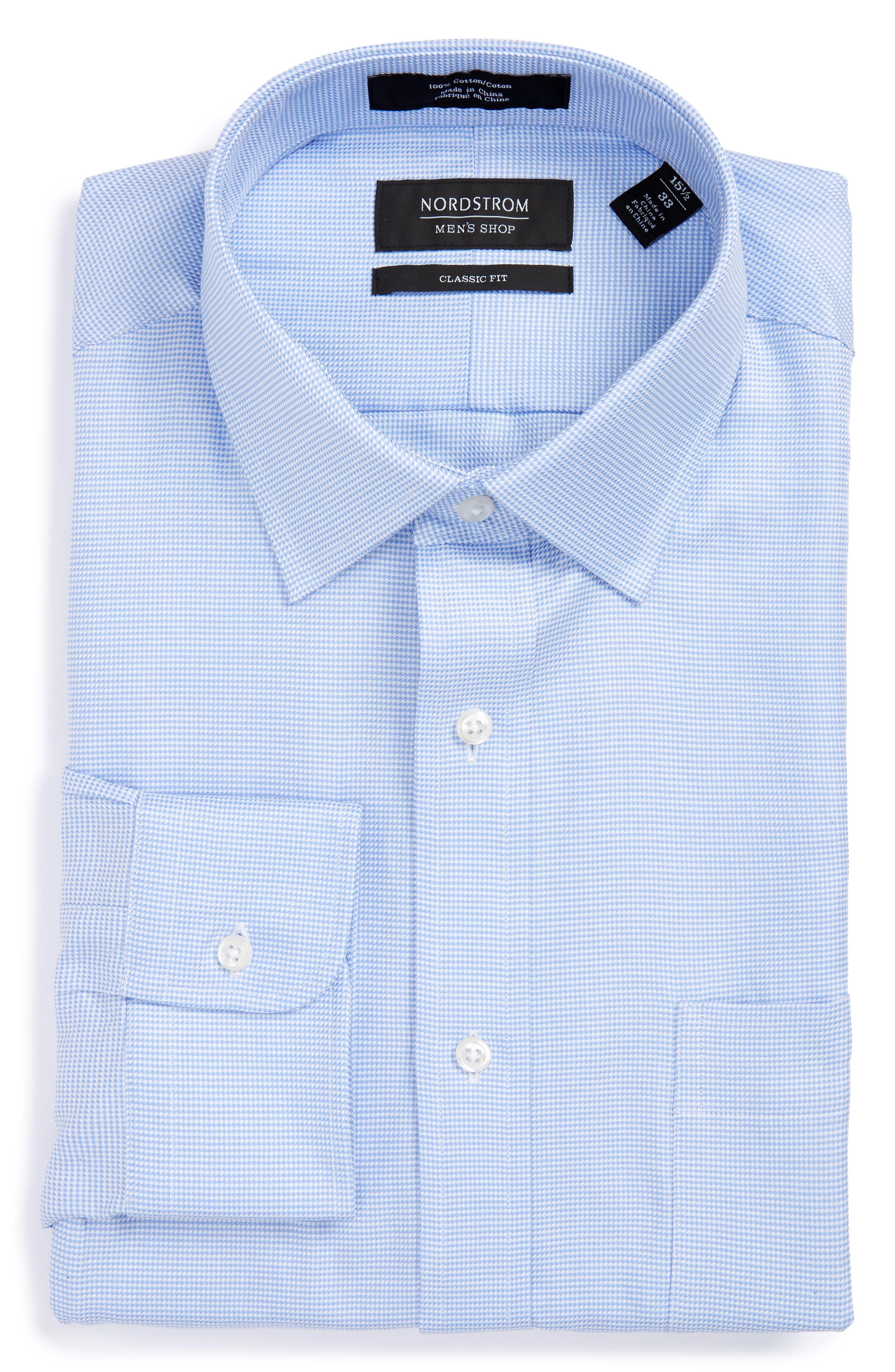 NORDSTROM MEN'S SHOP, Classic Fit Microgrid Dress Shirt, Alternate thumbnail 3, color, BLUE ROBIN