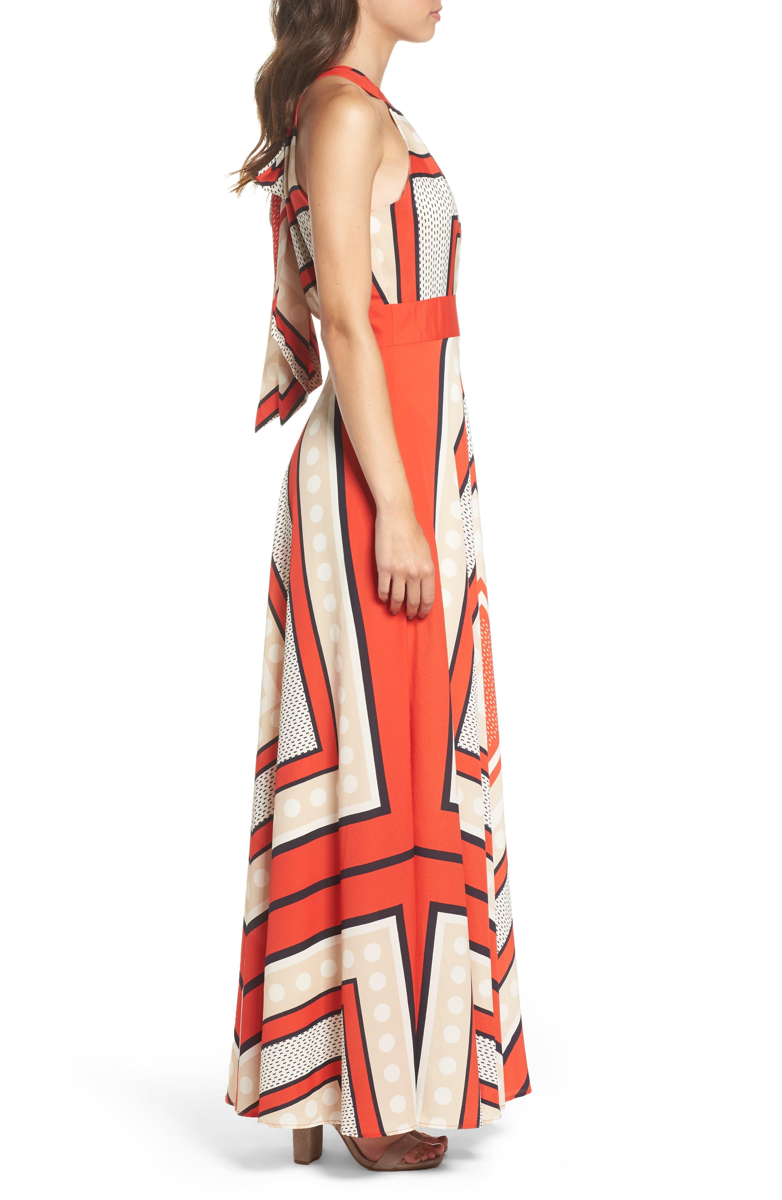 ELIZA J, Scarf Print Crêpe de Chine Fit & Flare Maxi Dress, Alternate thumbnail 5, color, MULTI
