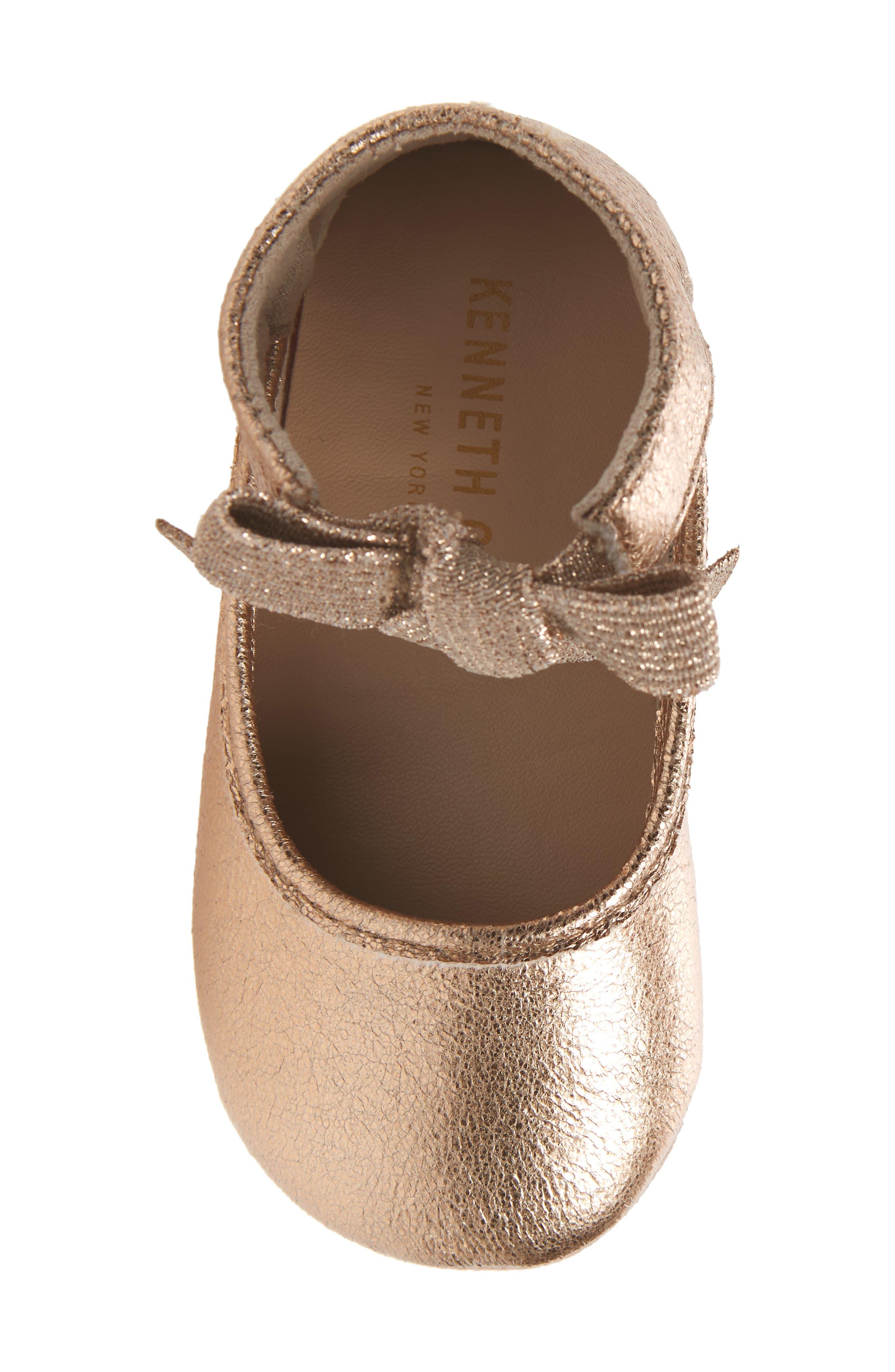 KENNETH COLE NEW YORK, Rose Bow Metallic Ballet Flat, Alternate thumbnail 5, color, ROSE