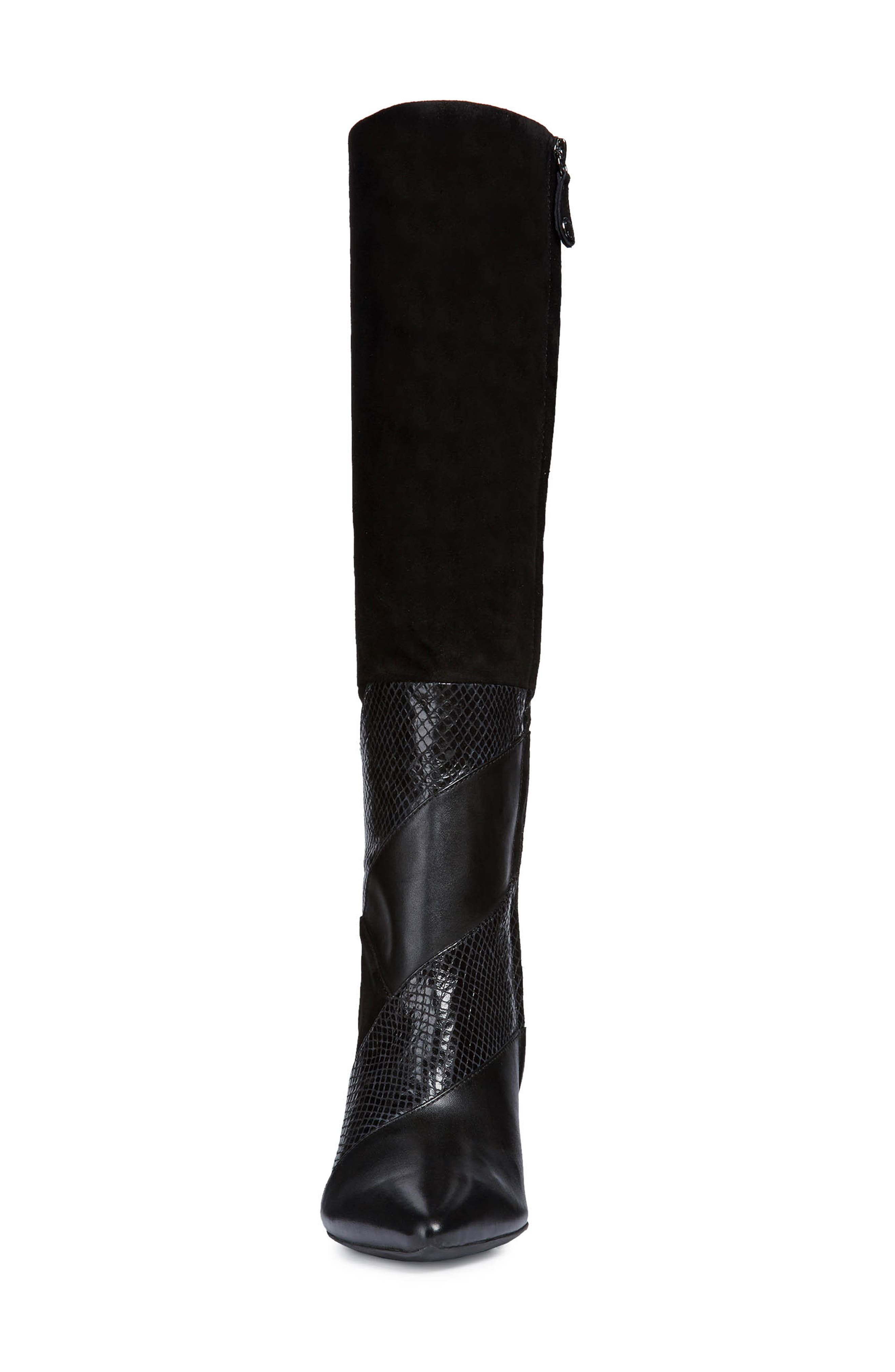 GEOX, Faviola Knee High Boot, Alternate thumbnail 4, color, BLACK LEATHER