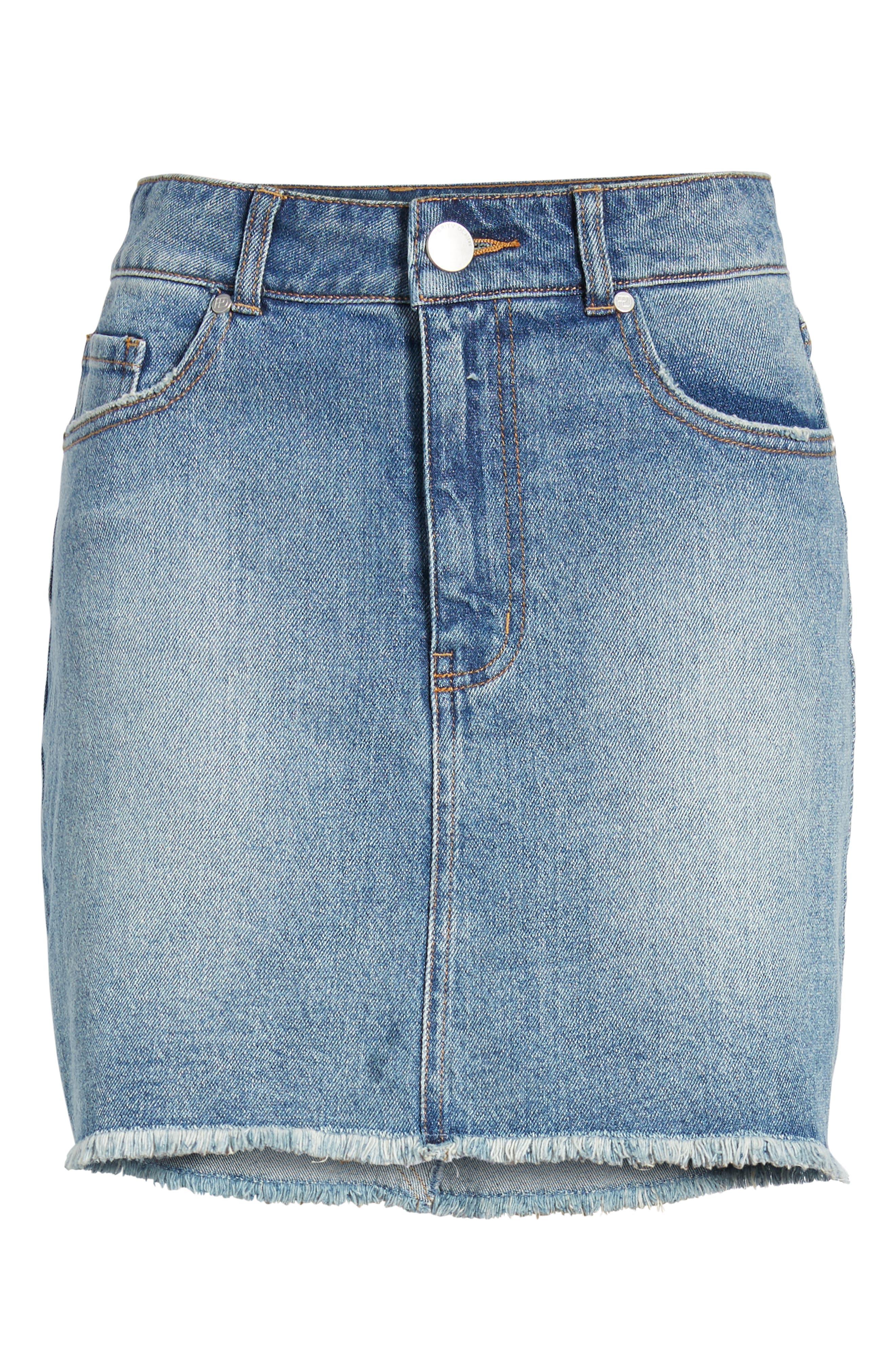 PROSPERITY DENIM, Raw Hem Denim Miniskirt, Alternate thumbnail 7, color, LIGHT WASH