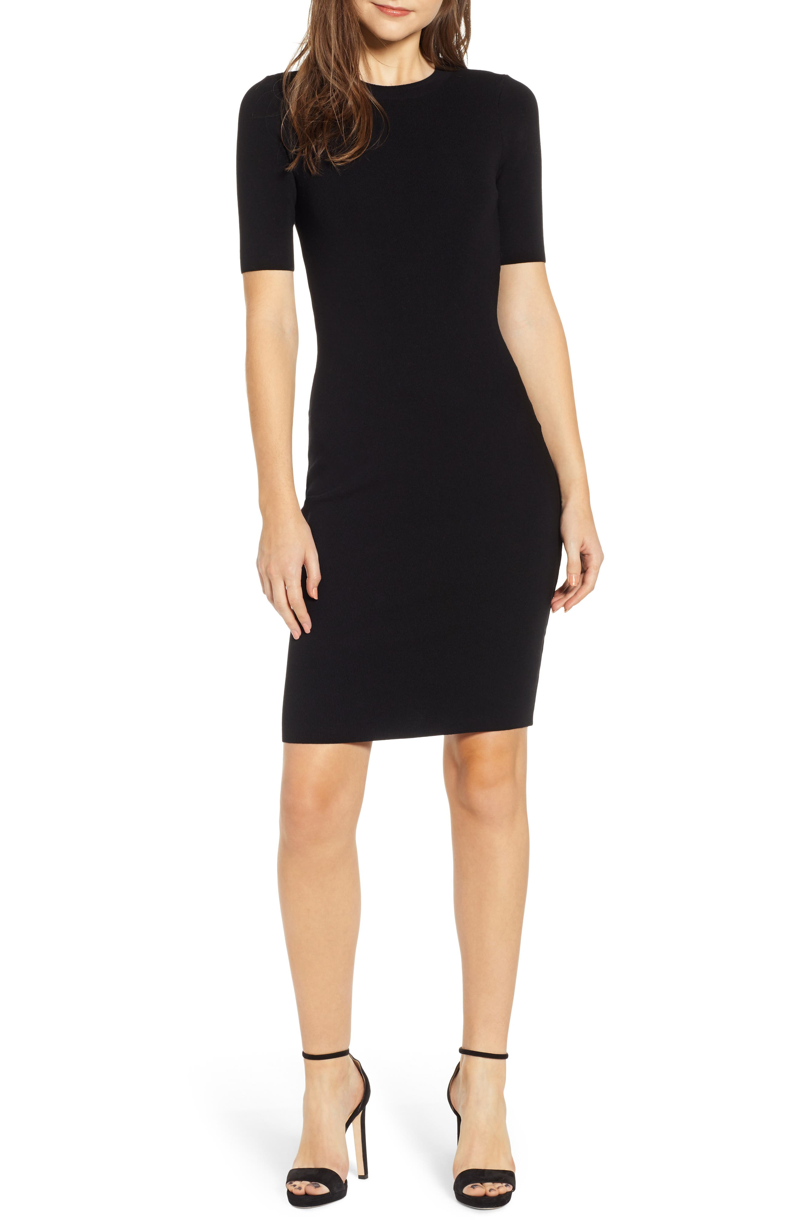 Leith Body-Con Sweater Dress, Black