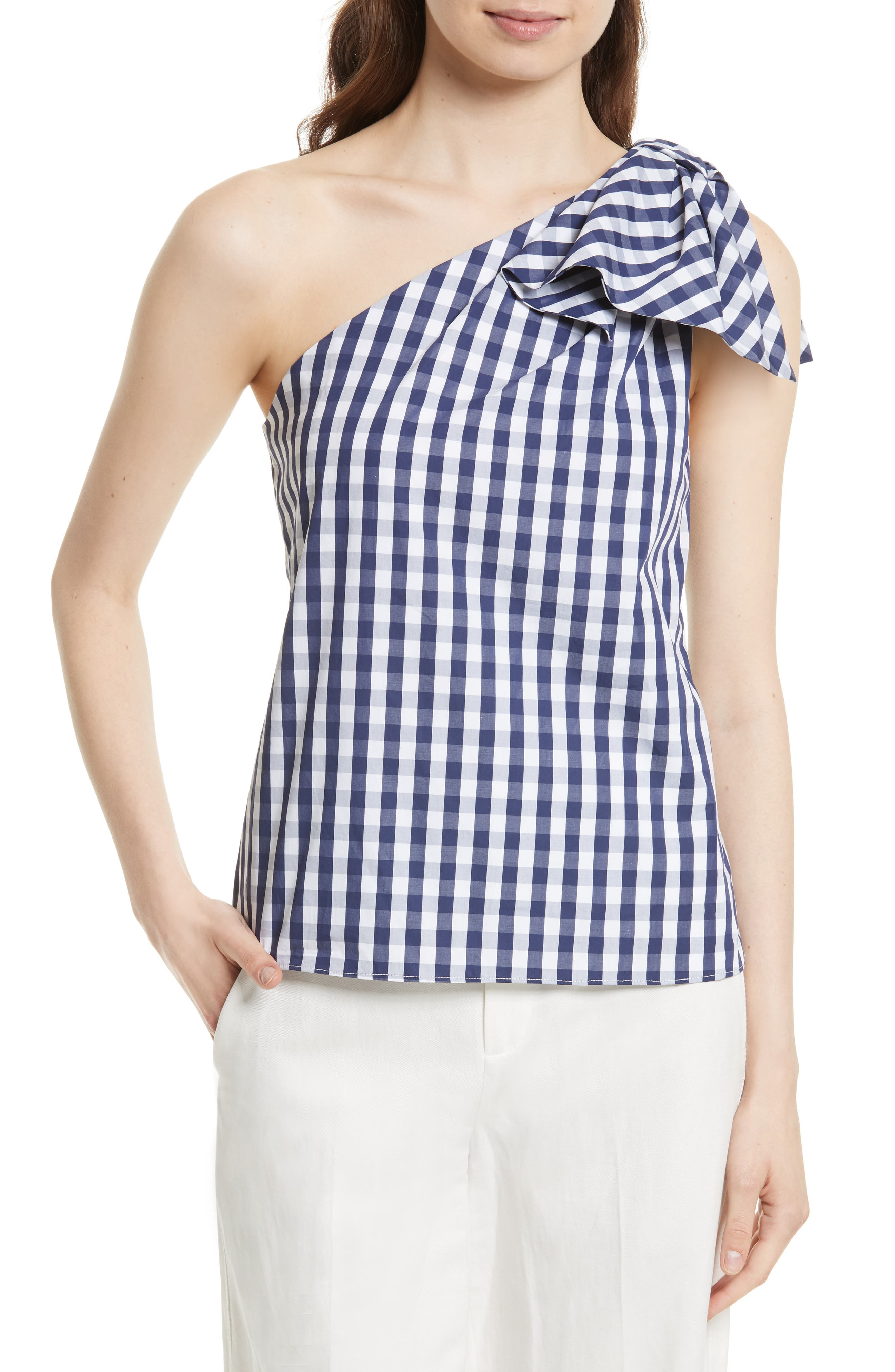 MILLY, Cindy One Shoulder Gingham Top, Main thumbnail 1, color, 410