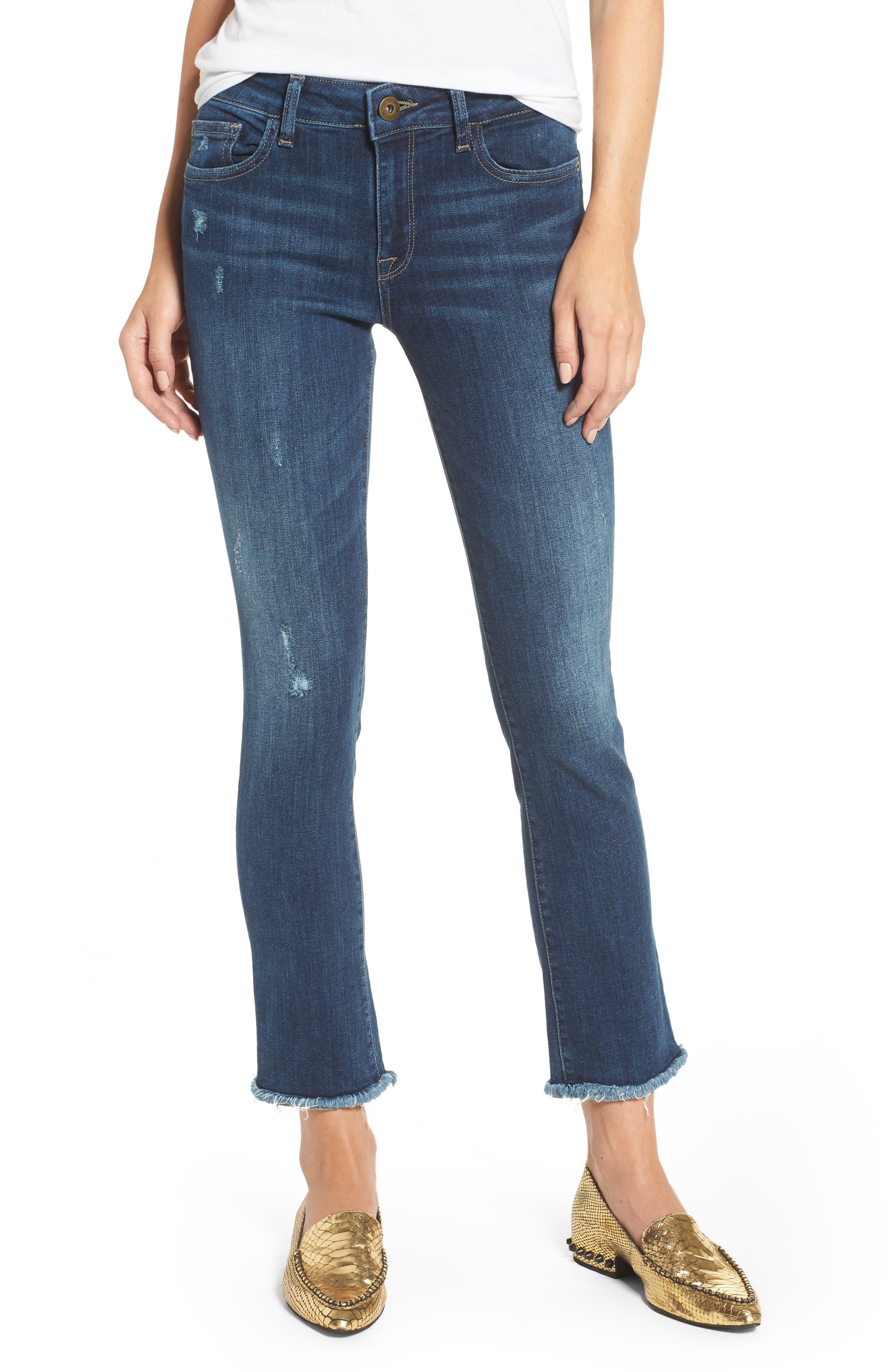 DL1961, Mara Ankle Straight Leg Jeans, Main thumbnail 1, color, RAVINE