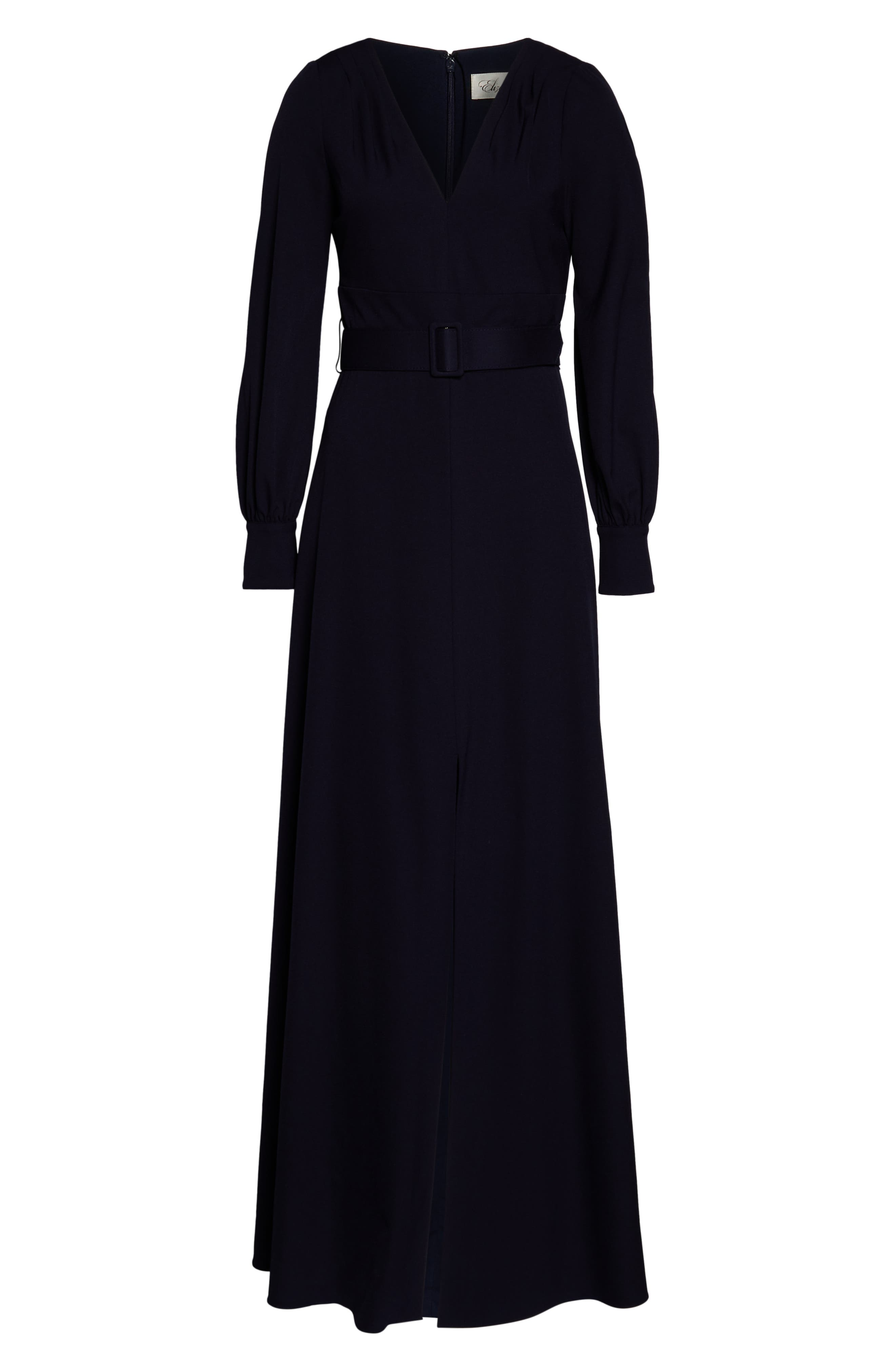 ELIZA J, Long Sleeve Belted Gown, Alternate thumbnail 7, color, NAVY