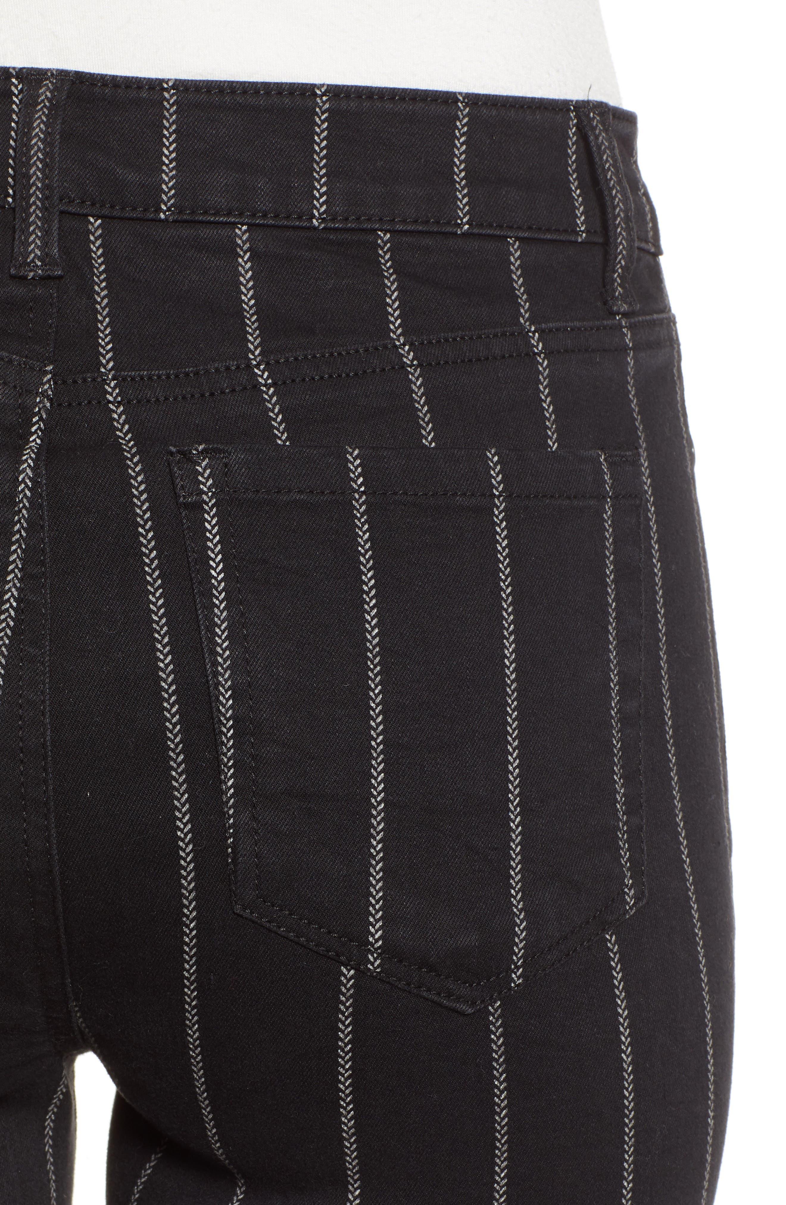 TINSEL, Stripe High Rise Skinny Jeans, Alternate thumbnail 5, color, 001