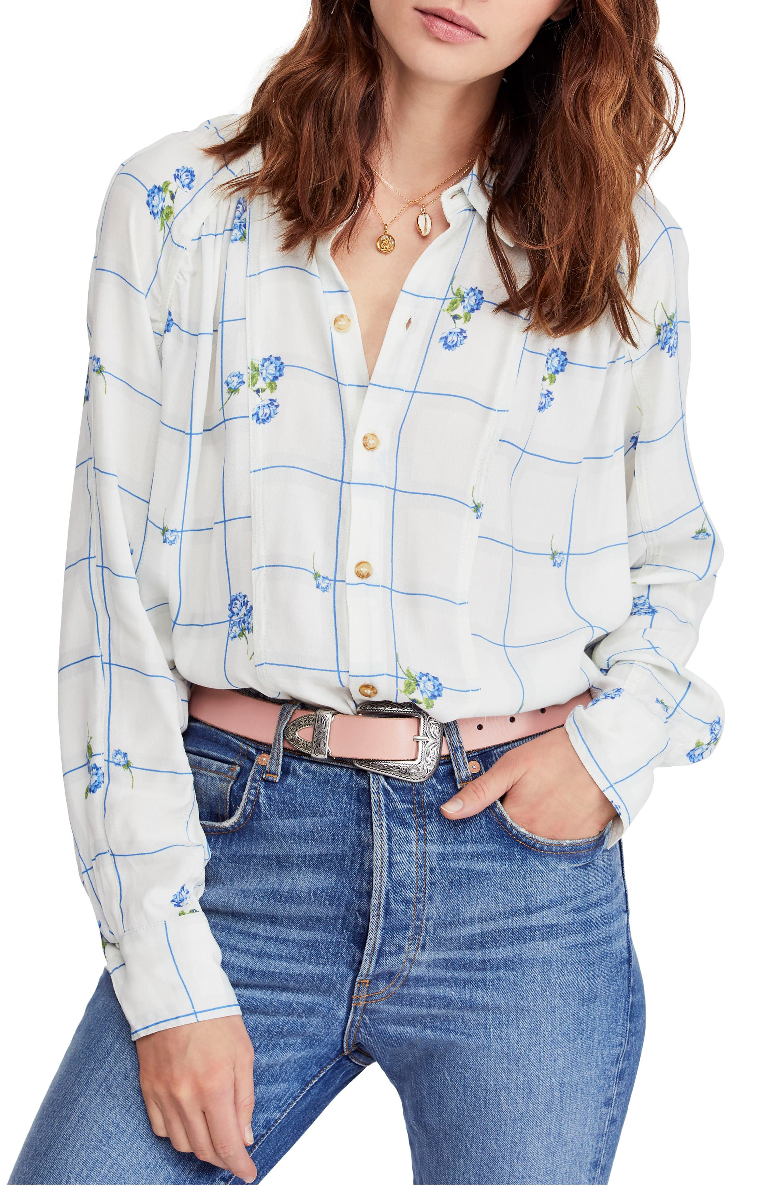 FREE PEOPLE, Window to My Heart Blouse, Main thumbnail 1, color, WHITE