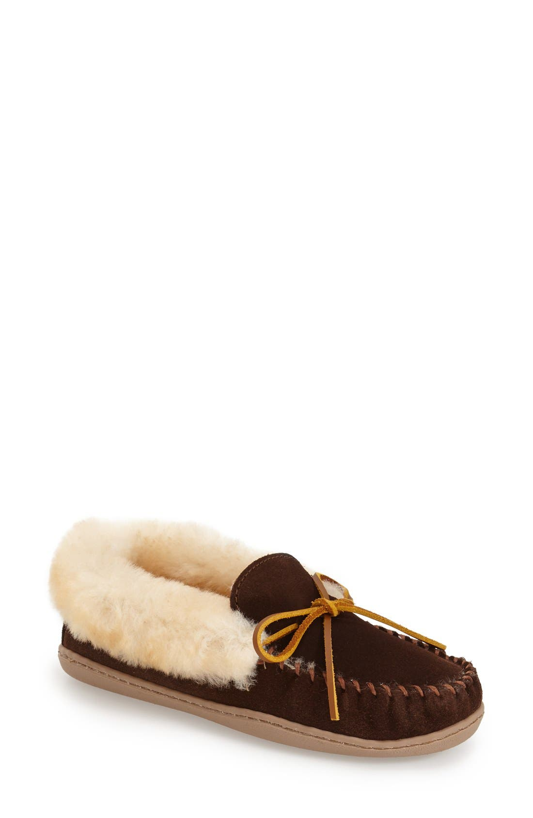 MINNETONKA, 'Alpine' Genuine Shearling Moccasin Slipper, Main thumbnail 1, color, CHOCOLATE SUEDE