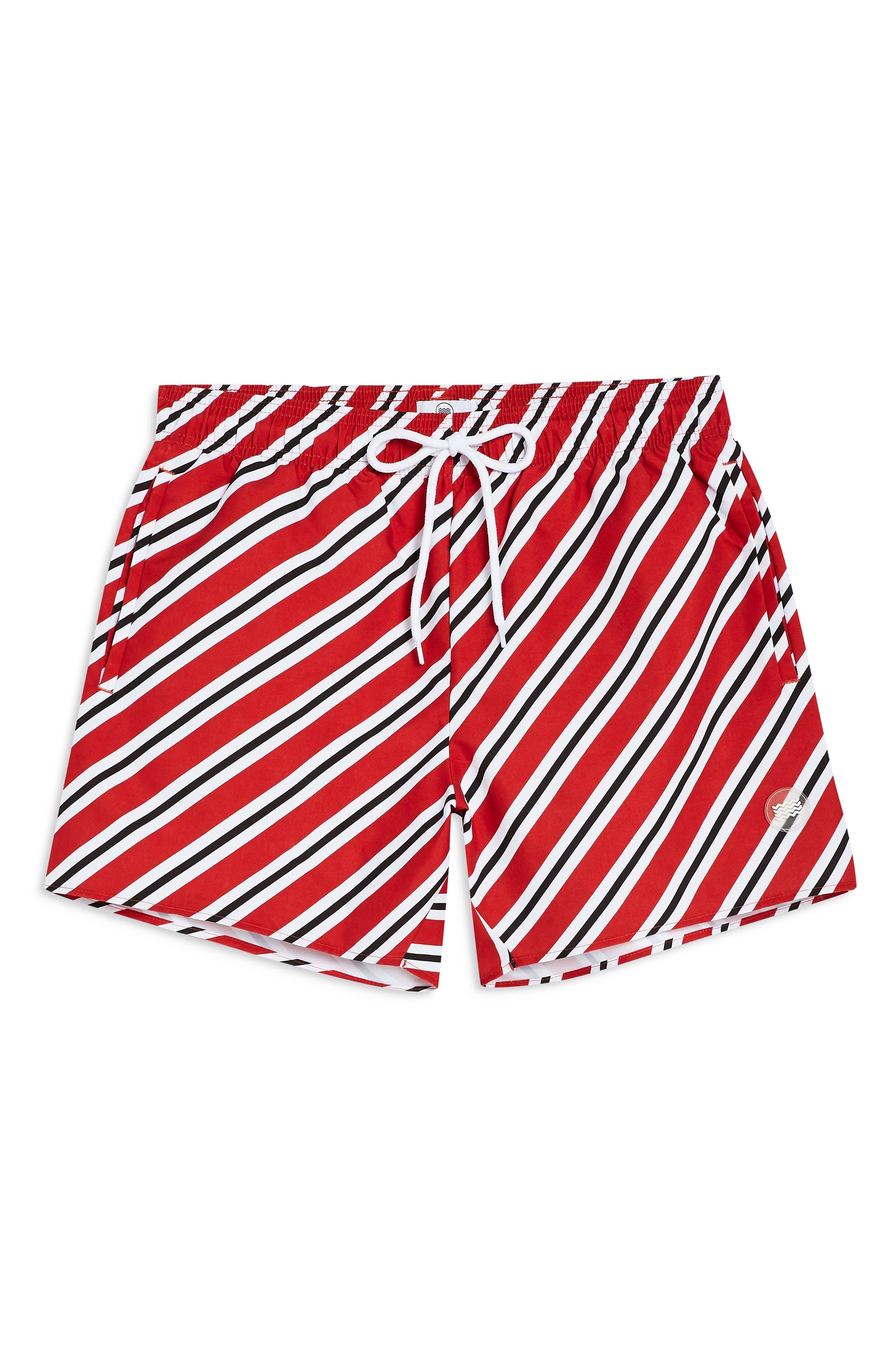 TOPMAN, Stripe Swim Trunks, Alternate thumbnail 4, color, RED MULTI