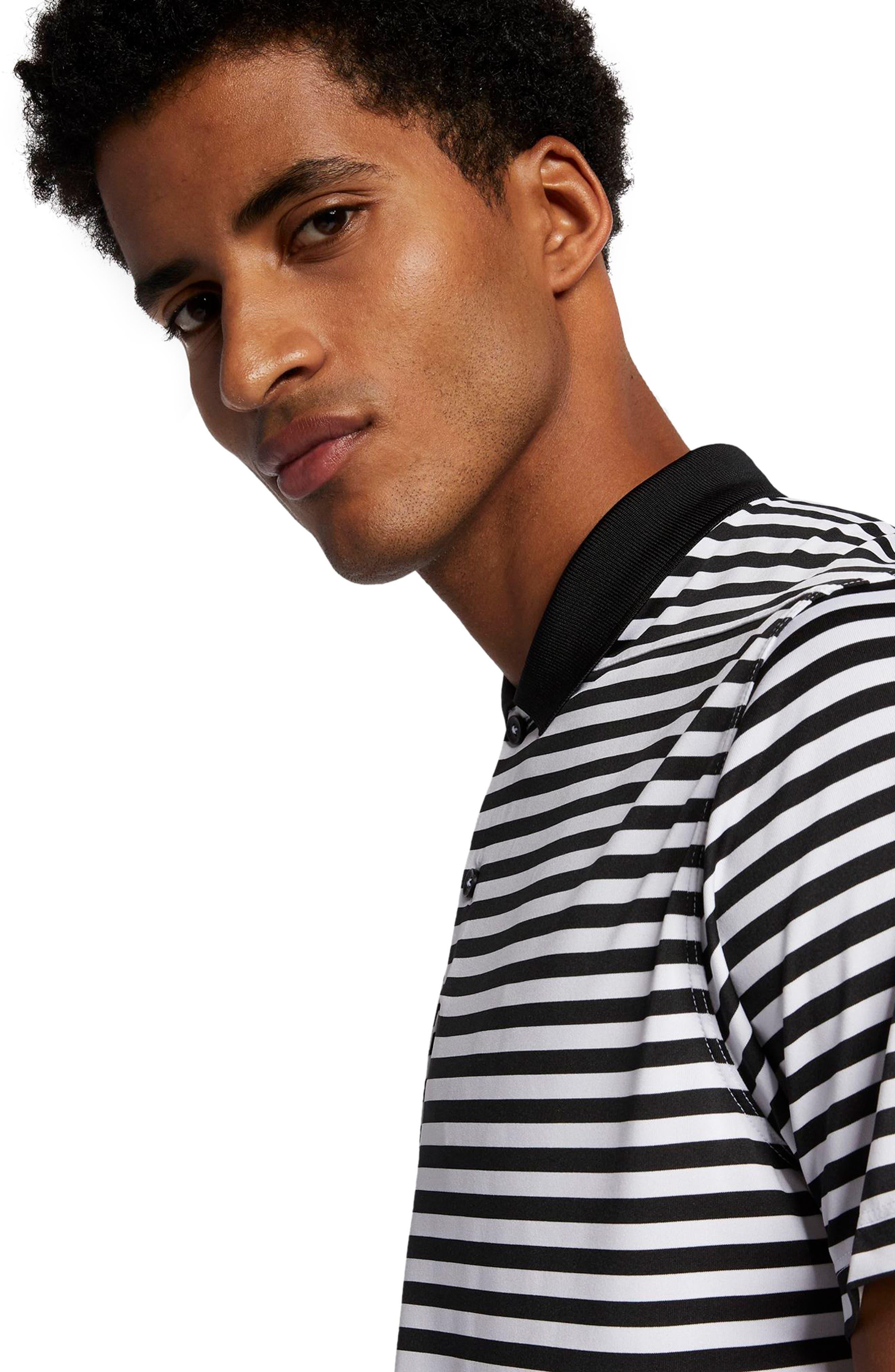 NIKE, Victory Stripe Dri-FIT Golf Polo, Alternate thumbnail 4, color, BLACK/ WHITE/COOL GREY