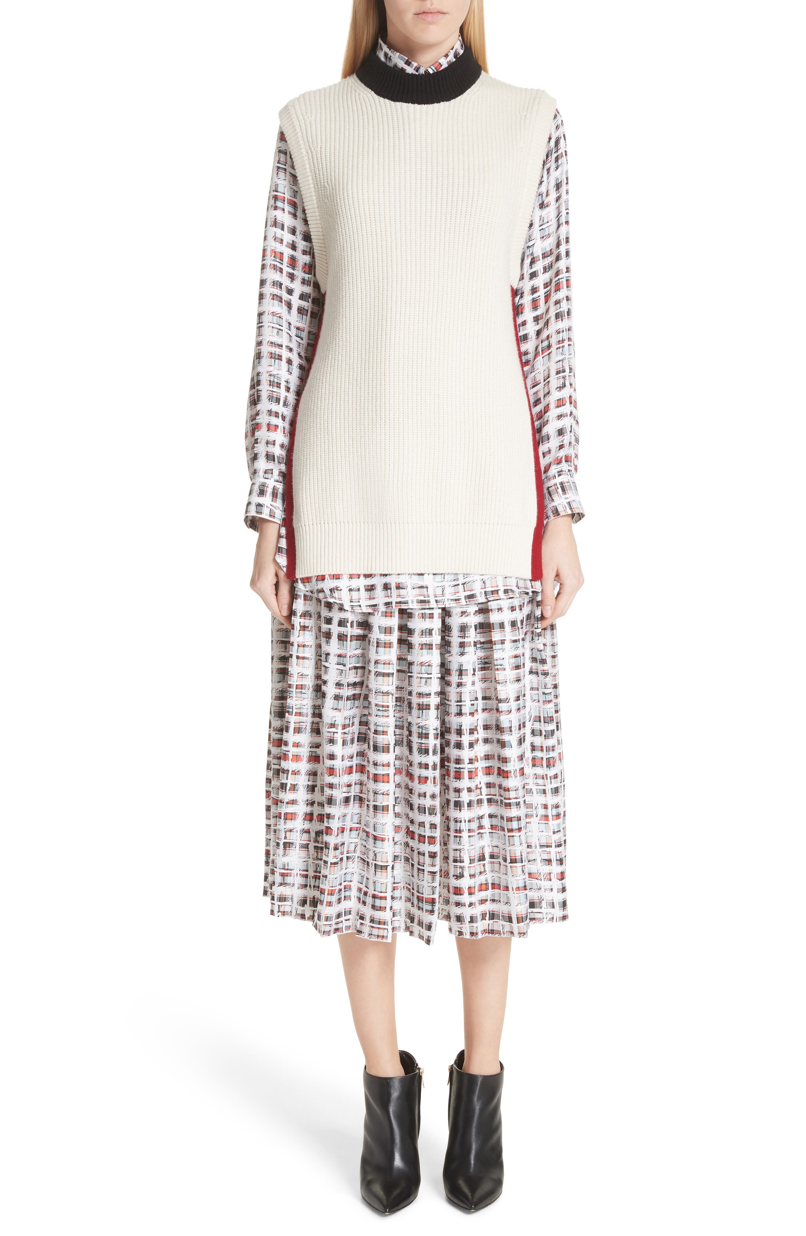 BURBERRY, Farnborough Pleated Check Silk Midi Skirt, Main thumbnail 1, color, CADMIUM RED