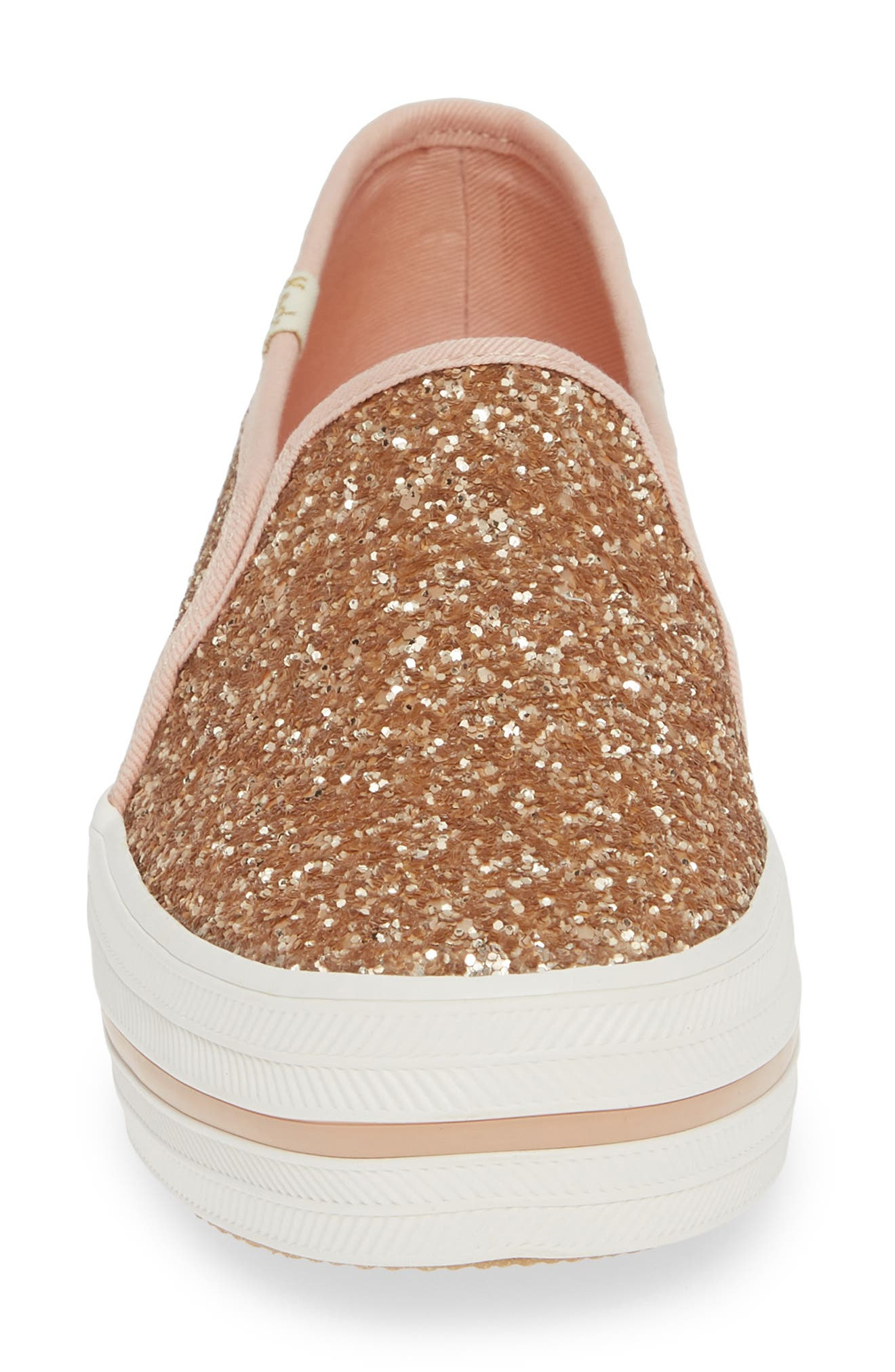 KEDS<SUP>®</SUP> FOR KATE SPADE NEW YORK, triple decker glitter slip-on sneaker, Alternate thumbnail 4, color, ROSE GOLD