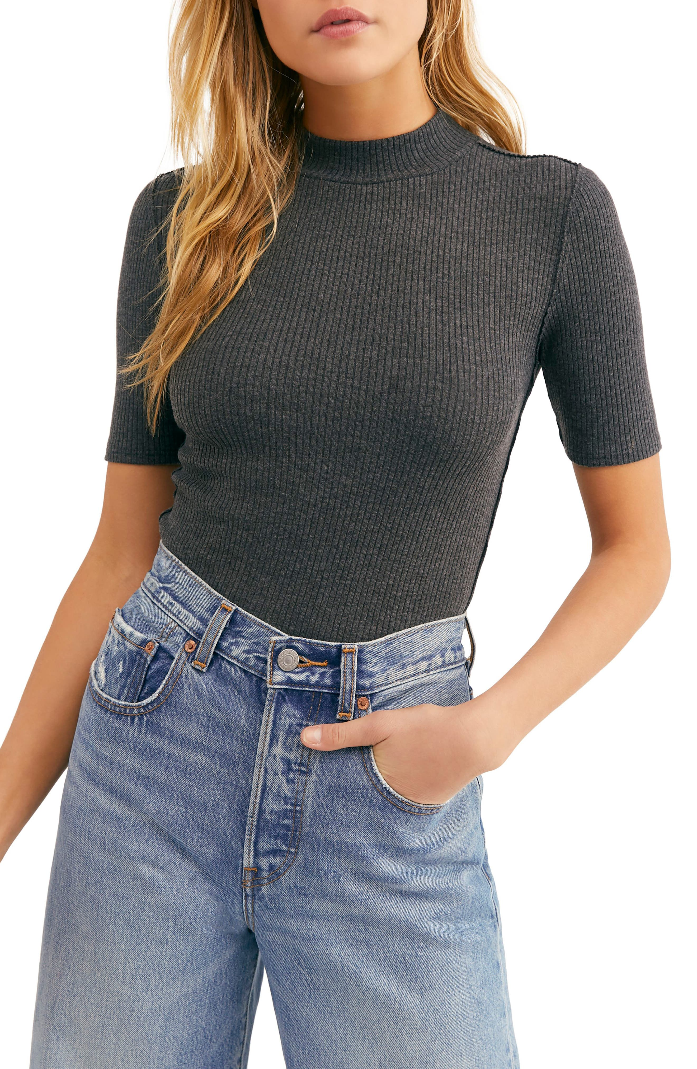 FREE PEOPLE, Good Vibes Ribbed Top, Main thumbnail 1, color, 020